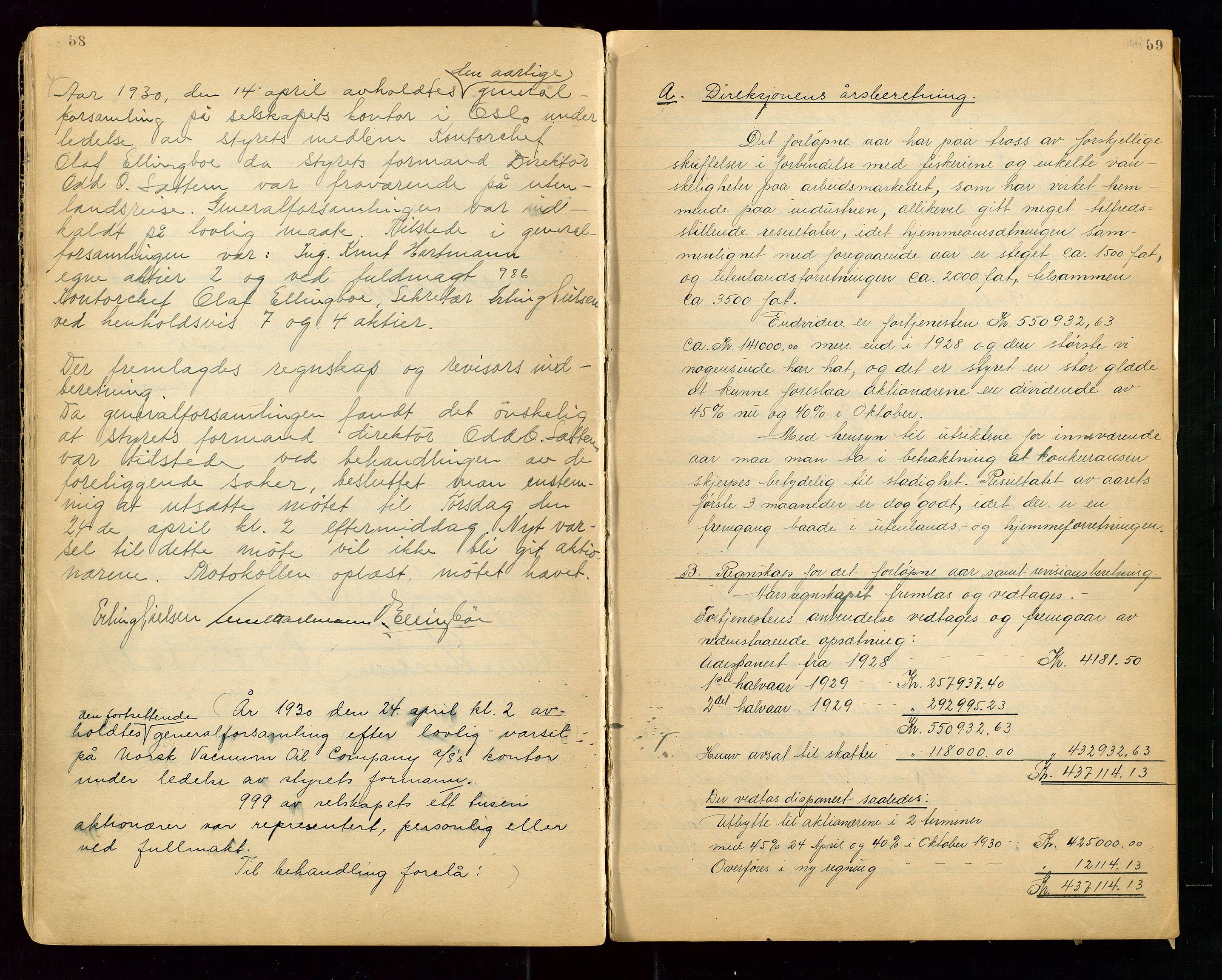 """SAST, PA 1513 - Norsk Vacuum Oil Company A/S, A/L0001: """"Generalforsamlings og styreprotokoll"""" fra 27/4-1918 til 6/4-1949, 1918-1949, s. 58-59"""
