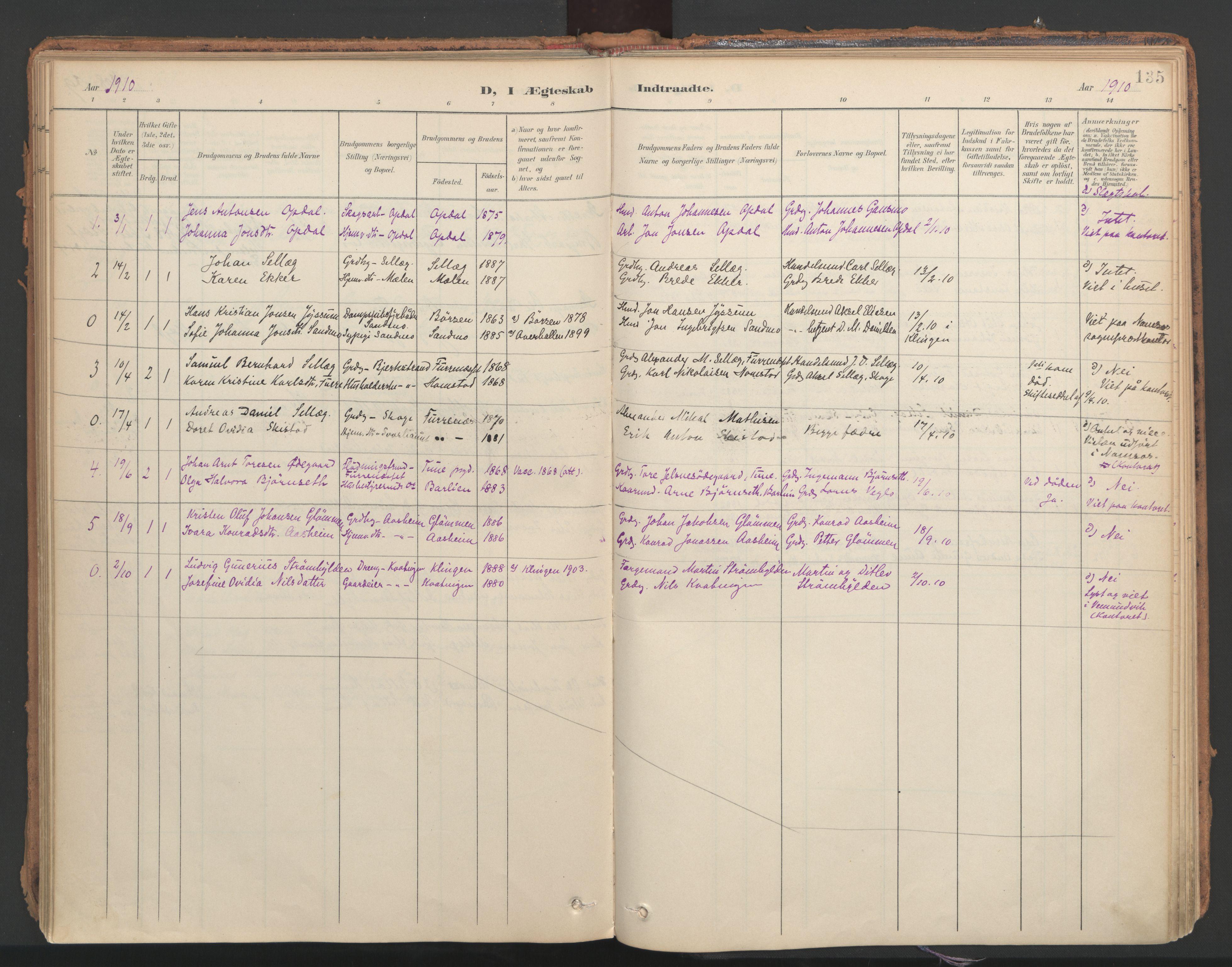 SAT, Ministerialprotokoller, klokkerbøker og fødselsregistre - Nord-Trøndelag, 766/L0564: Ministerialbok nr. 767A02, 1900-1932, s. 135
