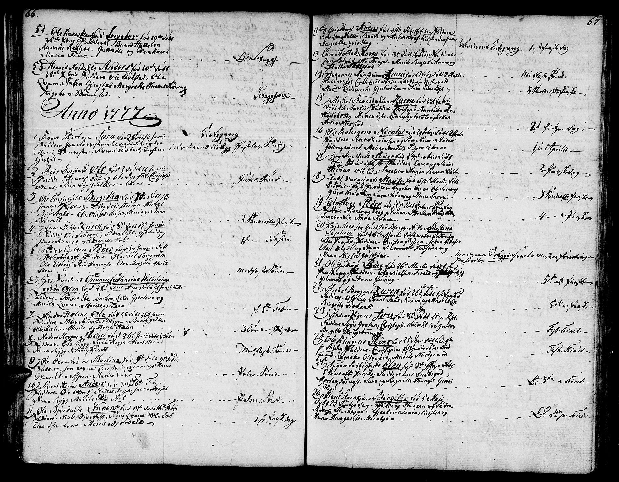 SAT, Ministerialprotokoller, klokkerbøker og fødselsregistre - Nord-Trøndelag, 746/L0440: Ministerialbok nr. 746A02, 1760-1815, s. 66-67