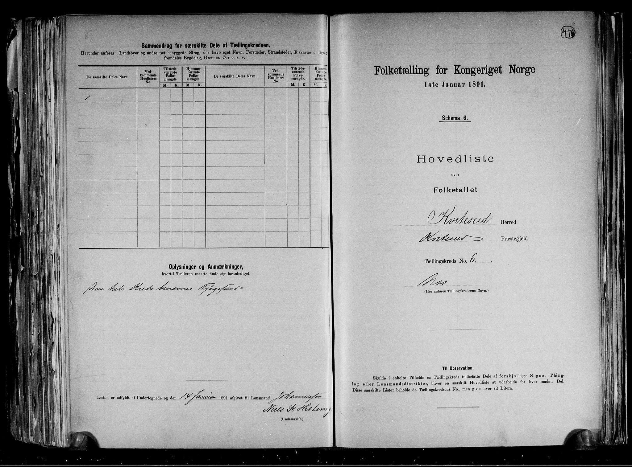 RA, Folketelling 1891 for 0829 Kviteseid herred, 1891, s. 15