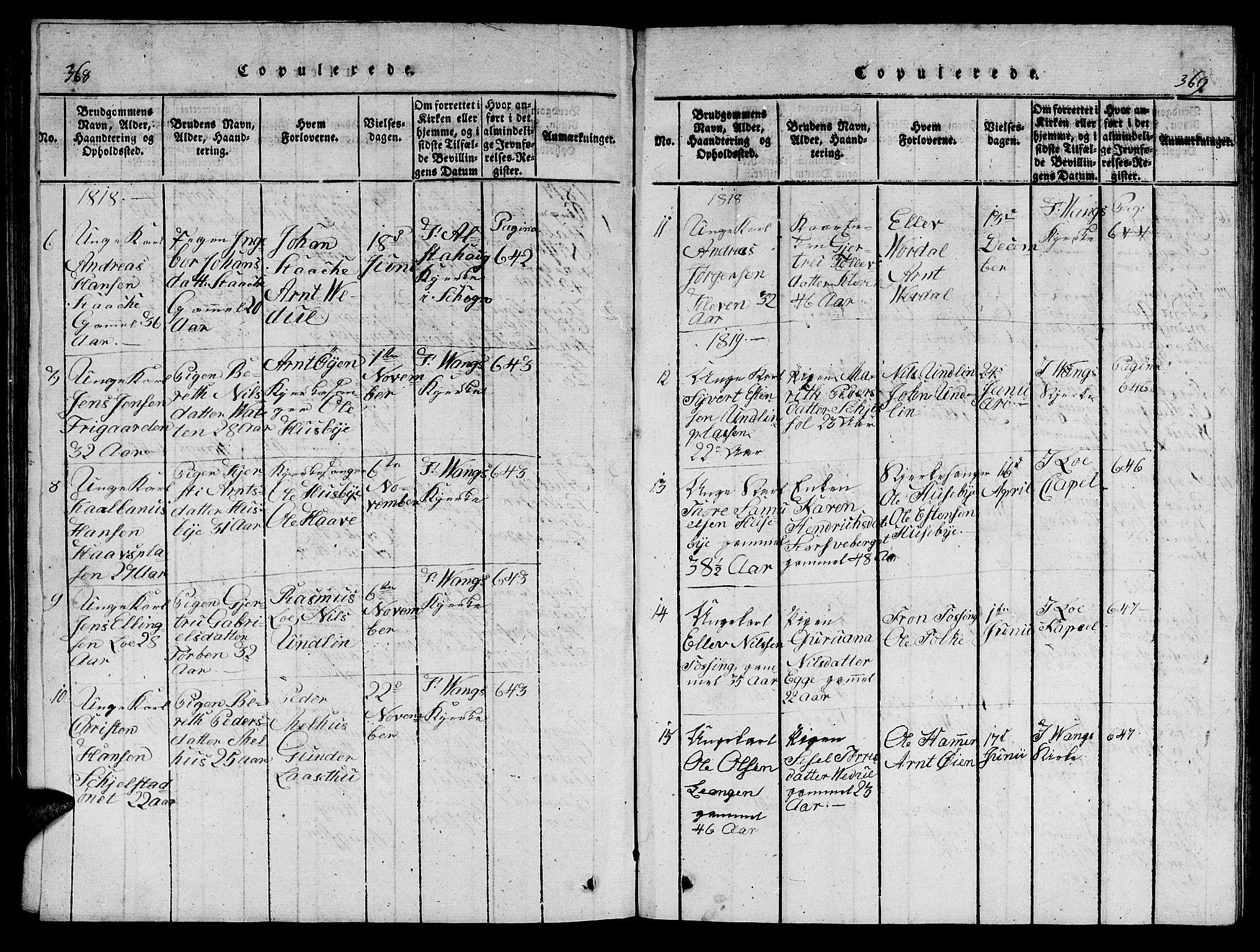 SAT, Ministerialprotokoller, klokkerbøker og fødselsregistre - Nord-Trøndelag, 714/L0132: Klokkerbok nr. 714C01, 1817-1824, s. 368-369