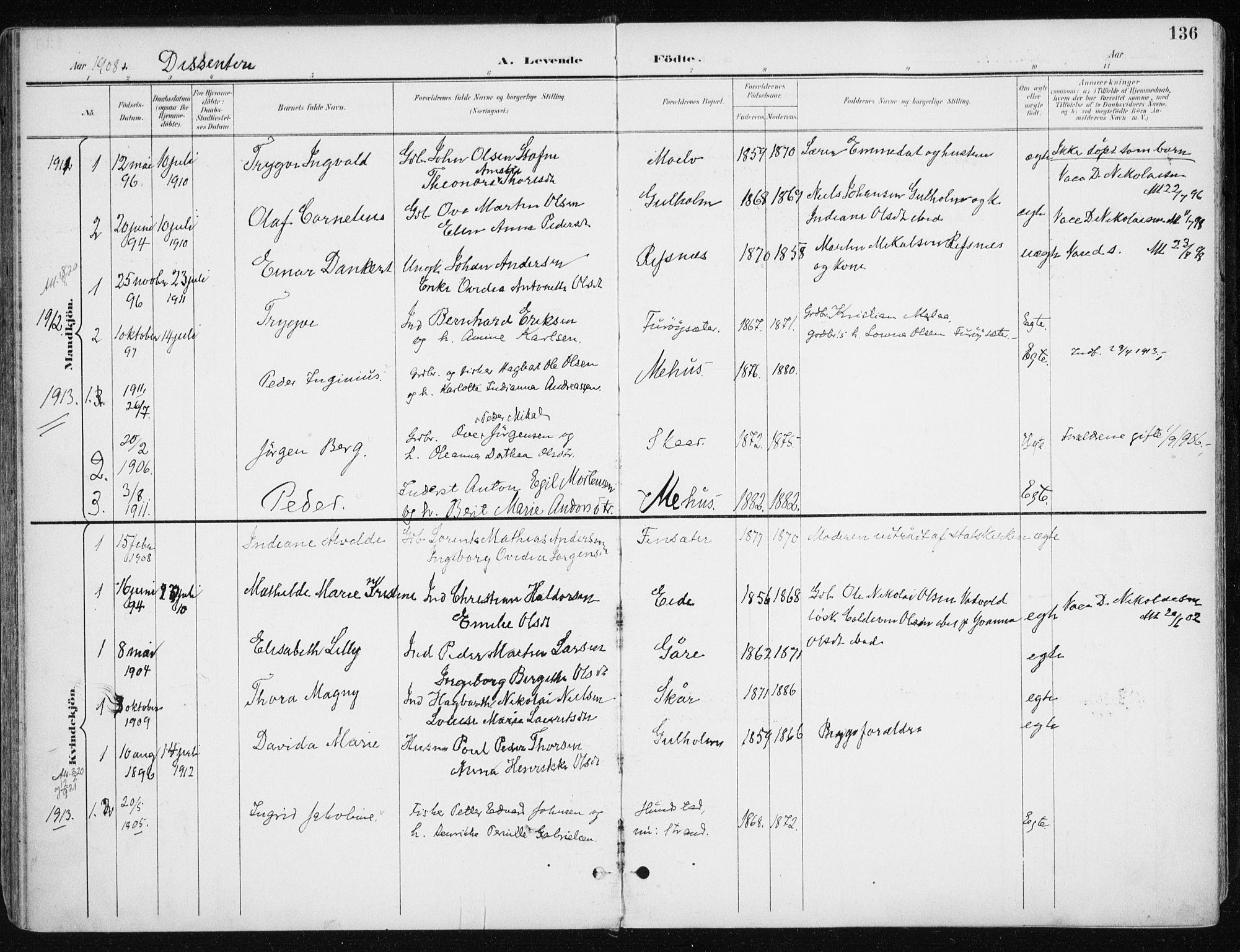 SATØ, Kvæfjord sokneprestkontor, G/Ga/Gaa/L0006kirke: Ministerialbok nr. 6, 1895-1914, s. 136