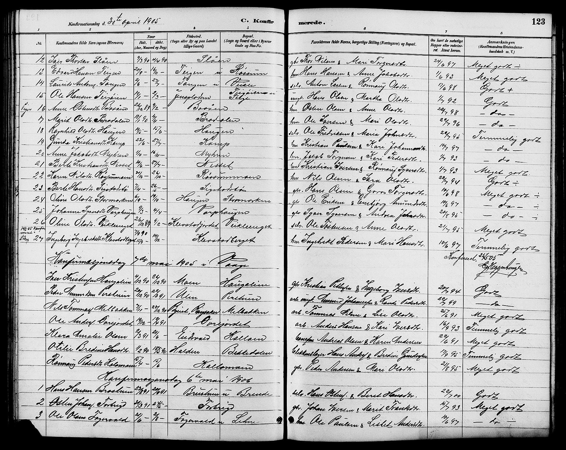SAH, Nord-Fron prestekontor, Klokkerbok nr. 6, 1887-1914, s. 123