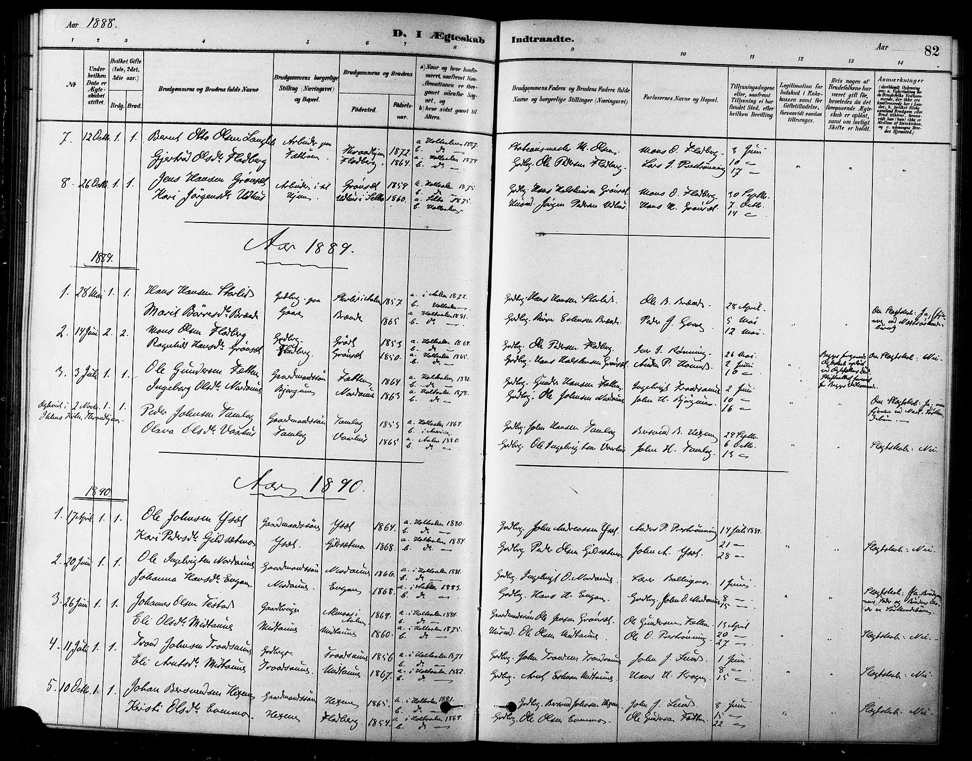 SAT, Ministerialprotokoller, klokkerbøker og fødselsregistre - Sør-Trøndelag, 685/L0972: Ministerialbok nr. 685A09, 1879-1890, s. 82