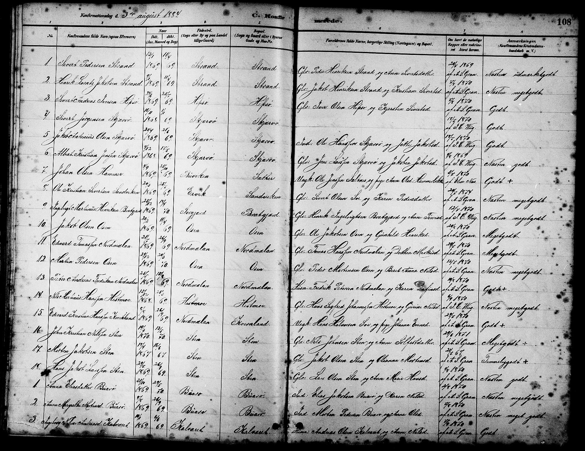 SAT, Ministerialprotokoller, klokkerbøker og fødselsregistre - Sør-Trøndelag, 658/L0726: Klokkerbok nr. 658C02, 1883-1908, s. 108