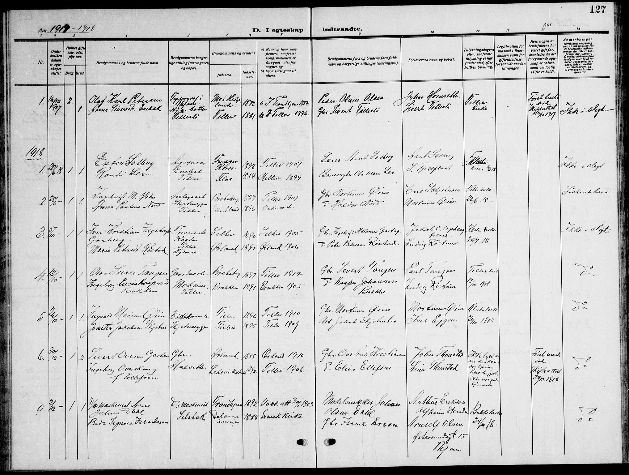 SAT, Ministerialprotokoller, klokkerbøker og fødselsregistre - Sør-Trøndelag, 621/L0462: Klokkerbok nr. 621C05, 1915-1945, s. 127