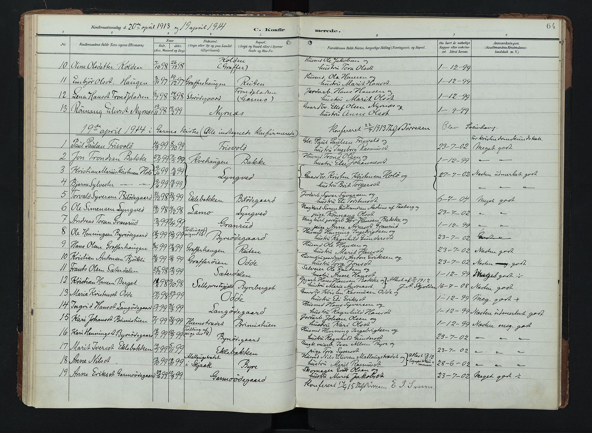 SAH, Lom prestekontor, K/L0011: Ministerialbok nr. 11, 1904-1928, s. 64