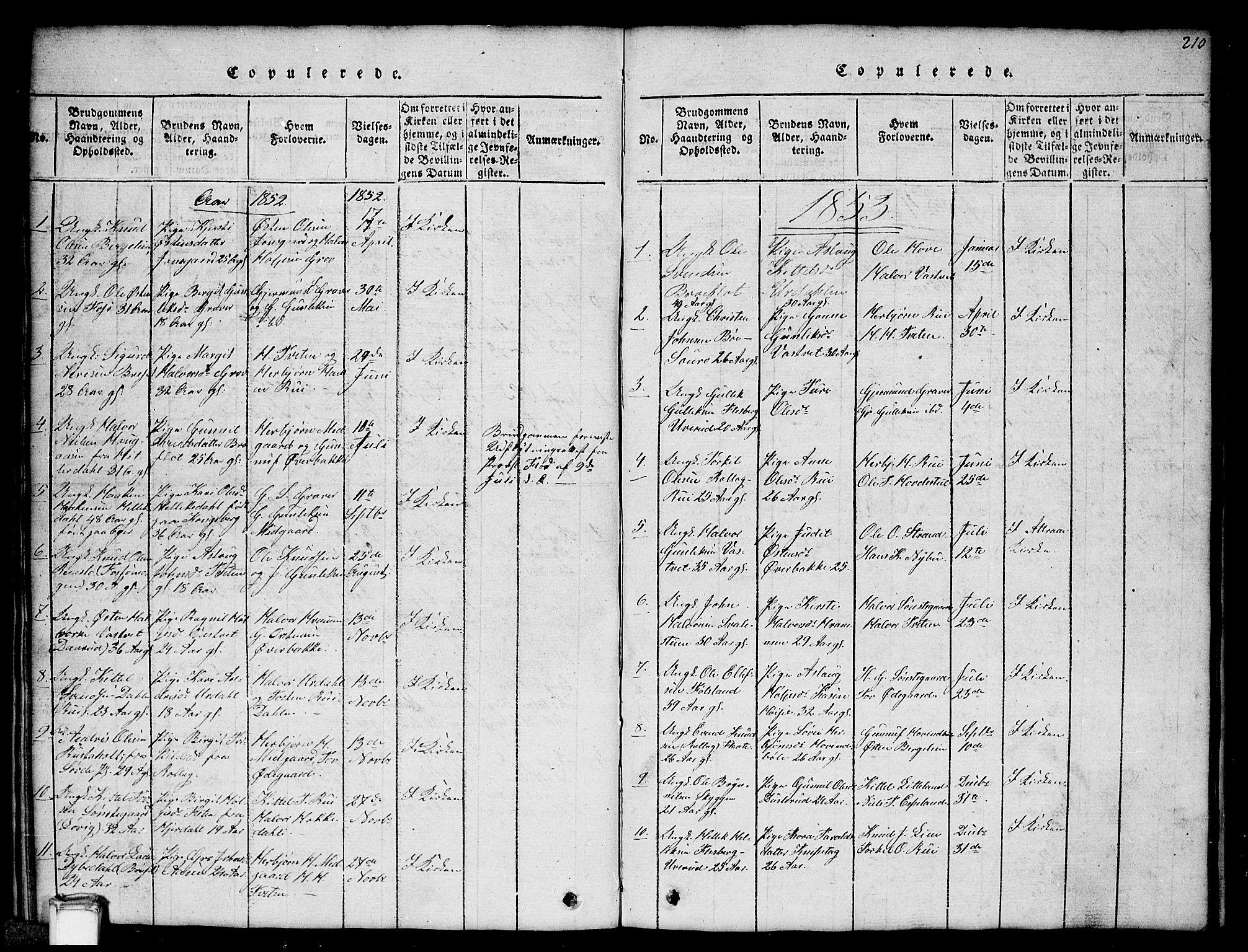 SAKO, Gransherad kirkebøker, G/Gb/L0001: Klokkerbok nr. II 1, 1815-1860, s. 210