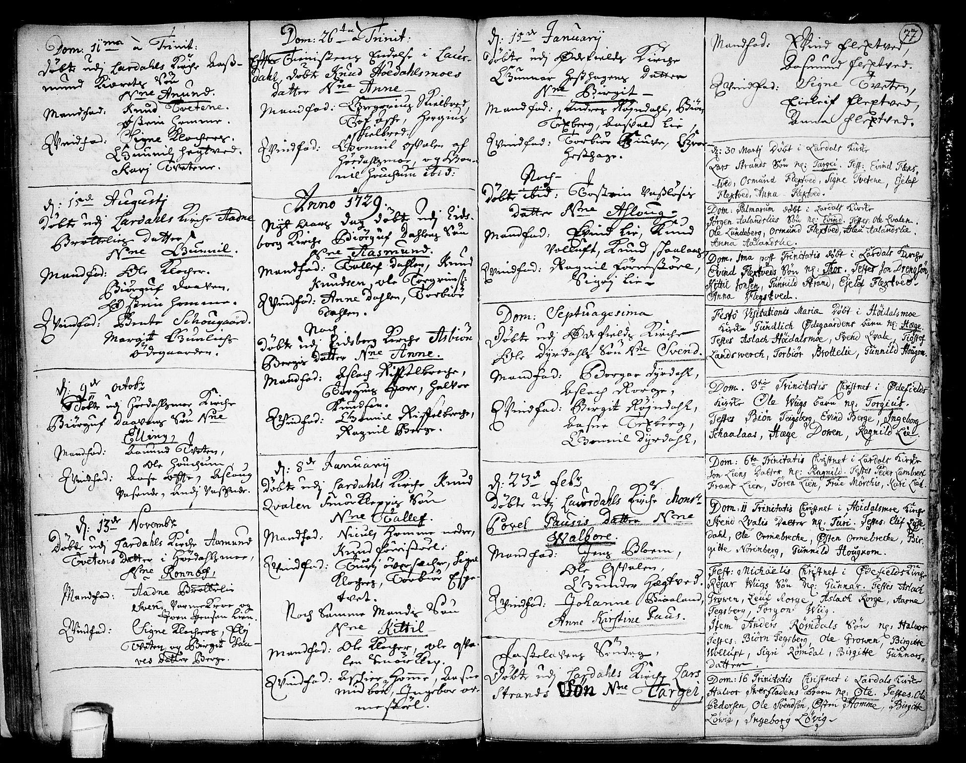 SAKO, Lårdal kirkebøker, F/Fa/L0001: Ministerialbok nr. I 1, 1721-1734, s. 77