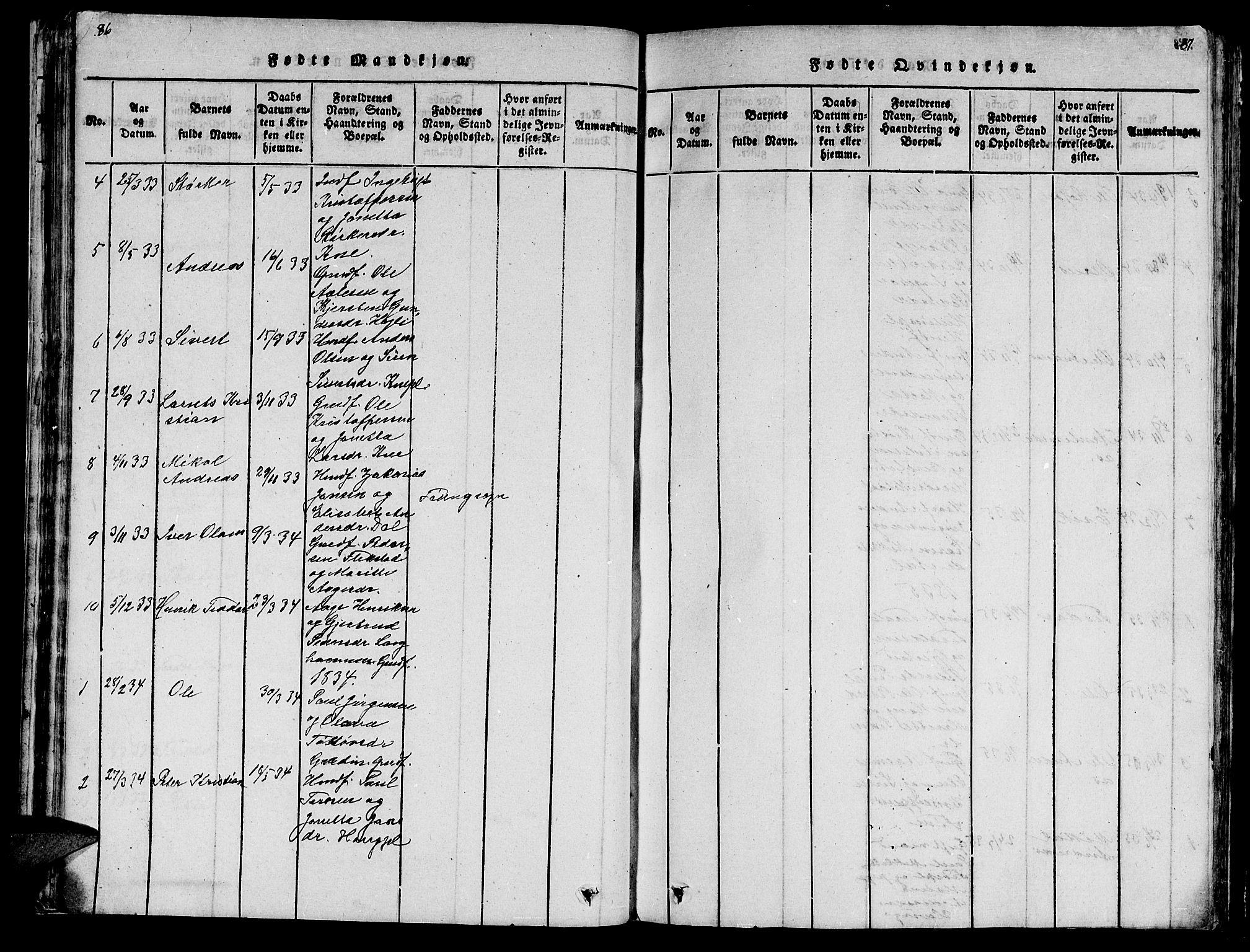 SAT, Ministerialprotokoller, klokkerbøker og fødselsregistre - Nord-Trøndelag, 747/L0459: Klokkerbok nr. 747C01, 1816-1842, s. 86-87
