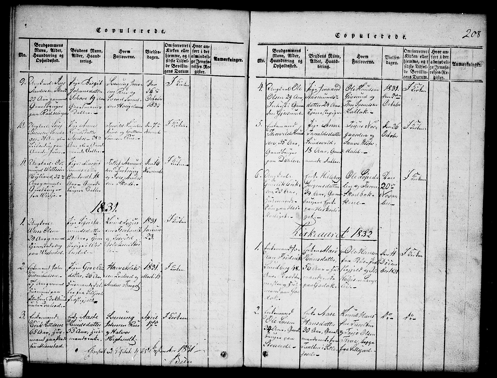 SAKO, Kviteseid kirkebøker, G/Gb/L0001: Klokkerbok nr. II 1, 1815-1842, s. 208