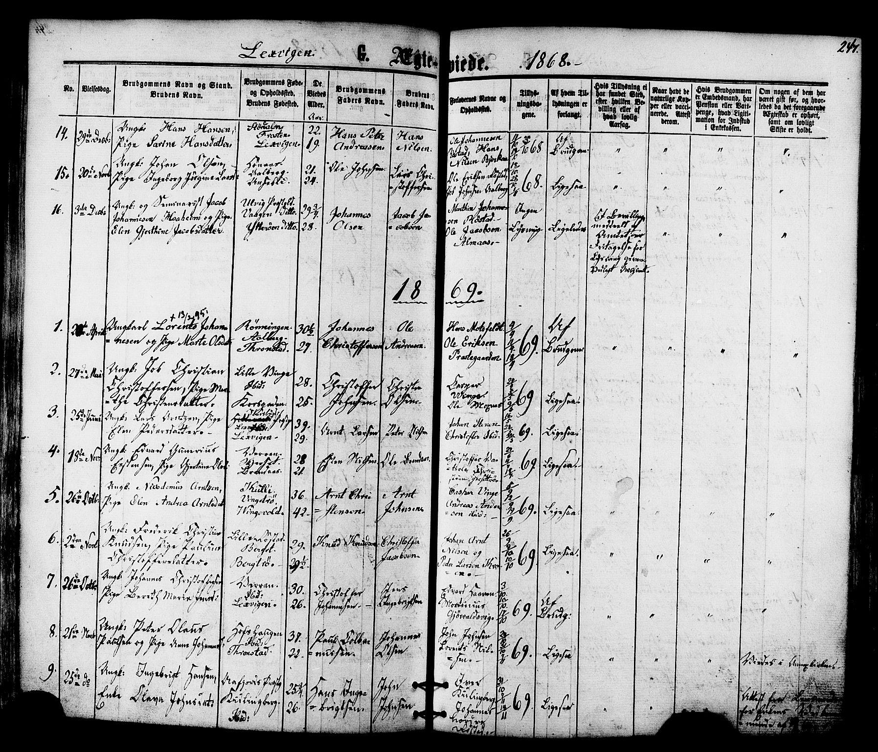 SAT, Ministerialprotokoller, klokkerbøker og fødselsregistre - Nord-Trøndelag, 701/L0009: Ministerialbok nr. 701A09 /1, 1864-1882, s. 247