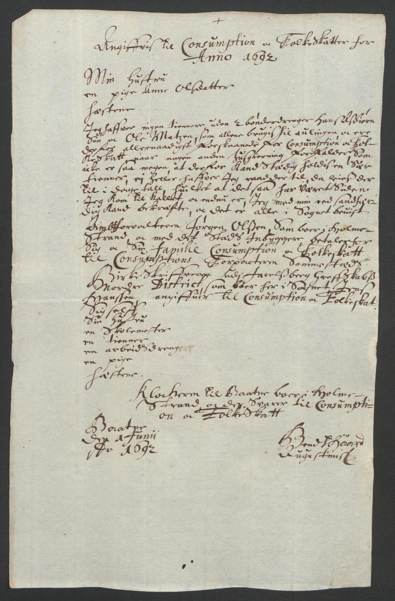 RA, Rentekammeret inntil 1814, Reviderte regnskaper, Fogderegnskap, R32/L1865: Fogderegnskap Jarlsberg grevskap, 1692, s. 259
