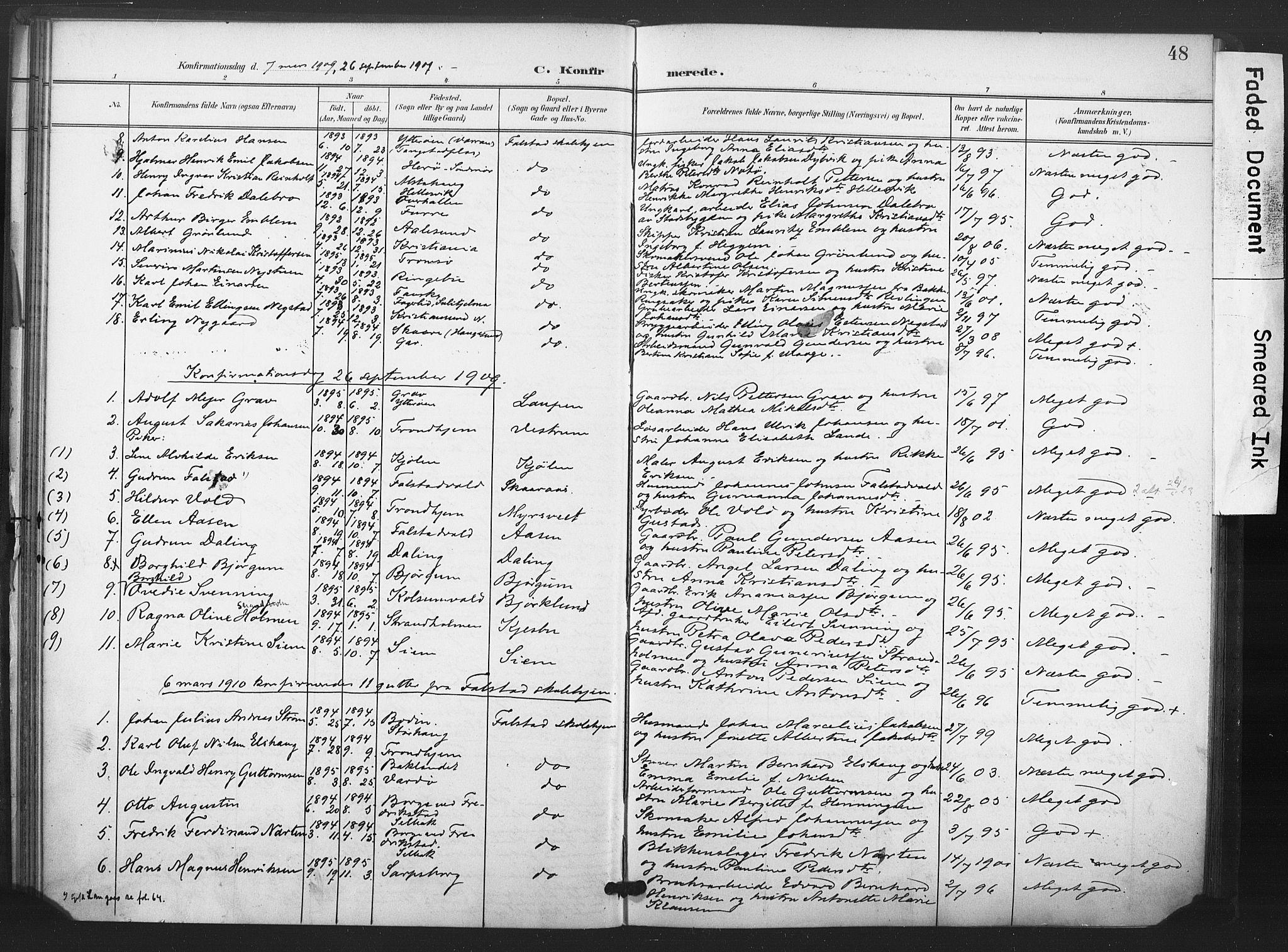SAT, Ministerialprotokoller, klokkerbøker og fødselsregistre - Nord-Trøndelag, 719/L0179: Ministerialbok nr. 719A02, 1901-1923, s. 48