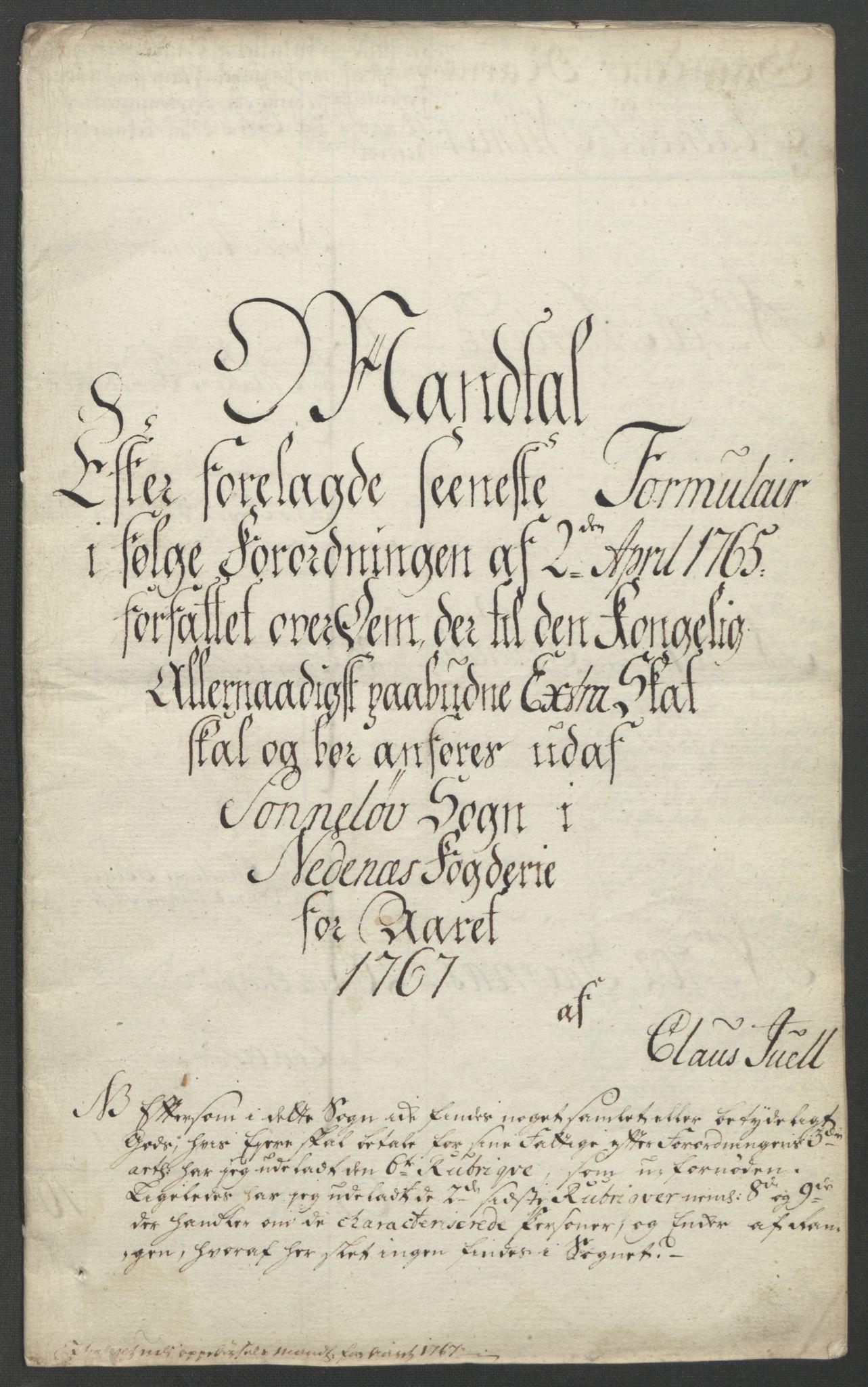 RA, Rentekammeret inntil 1814, Reviderte regnskaper, Fogderegnskap, R39/L2424: Ekstraskatten Nedenes, 1762-1767, s. 336
