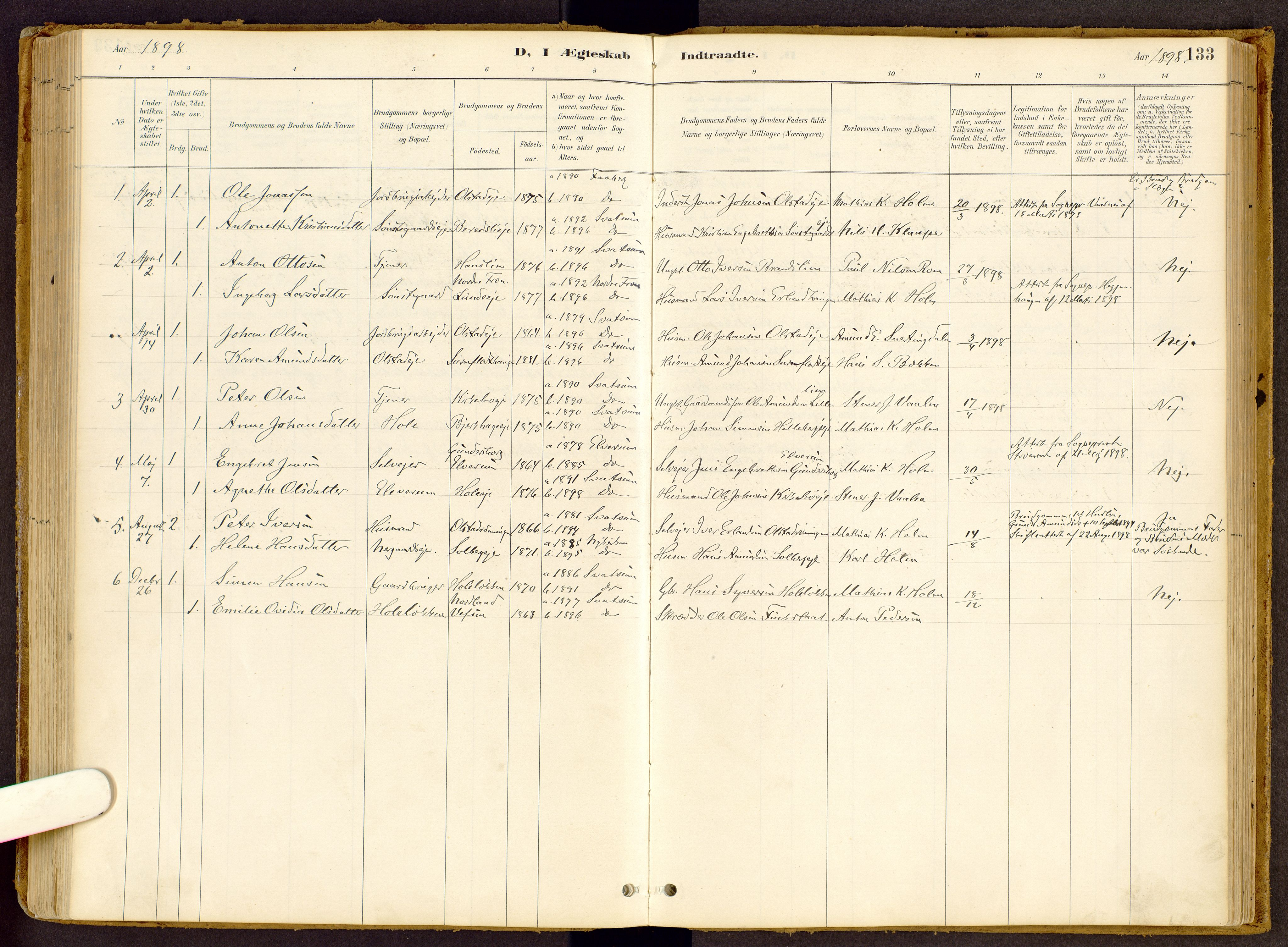 SAH, Vestre Gausdal prestekontor, Ministerialbok nr. 2, 1887-1918, s. 133