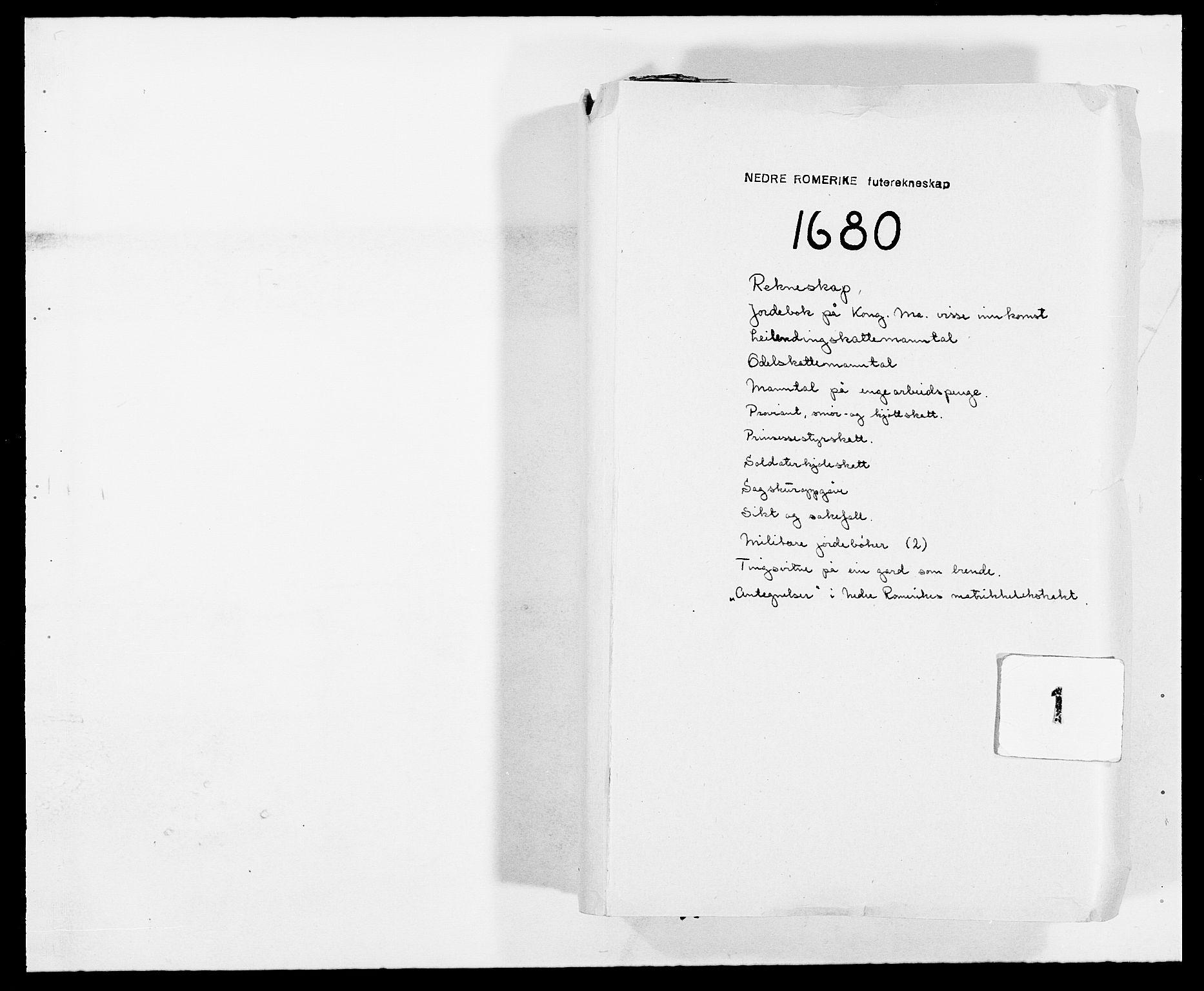 RA, Rentekammeret inntil 1814, Reviderte regnskaper, Fogderegnskap, R11/L0569: Fogderegnskap Nedre Romerike, 1680-1681, s. 1