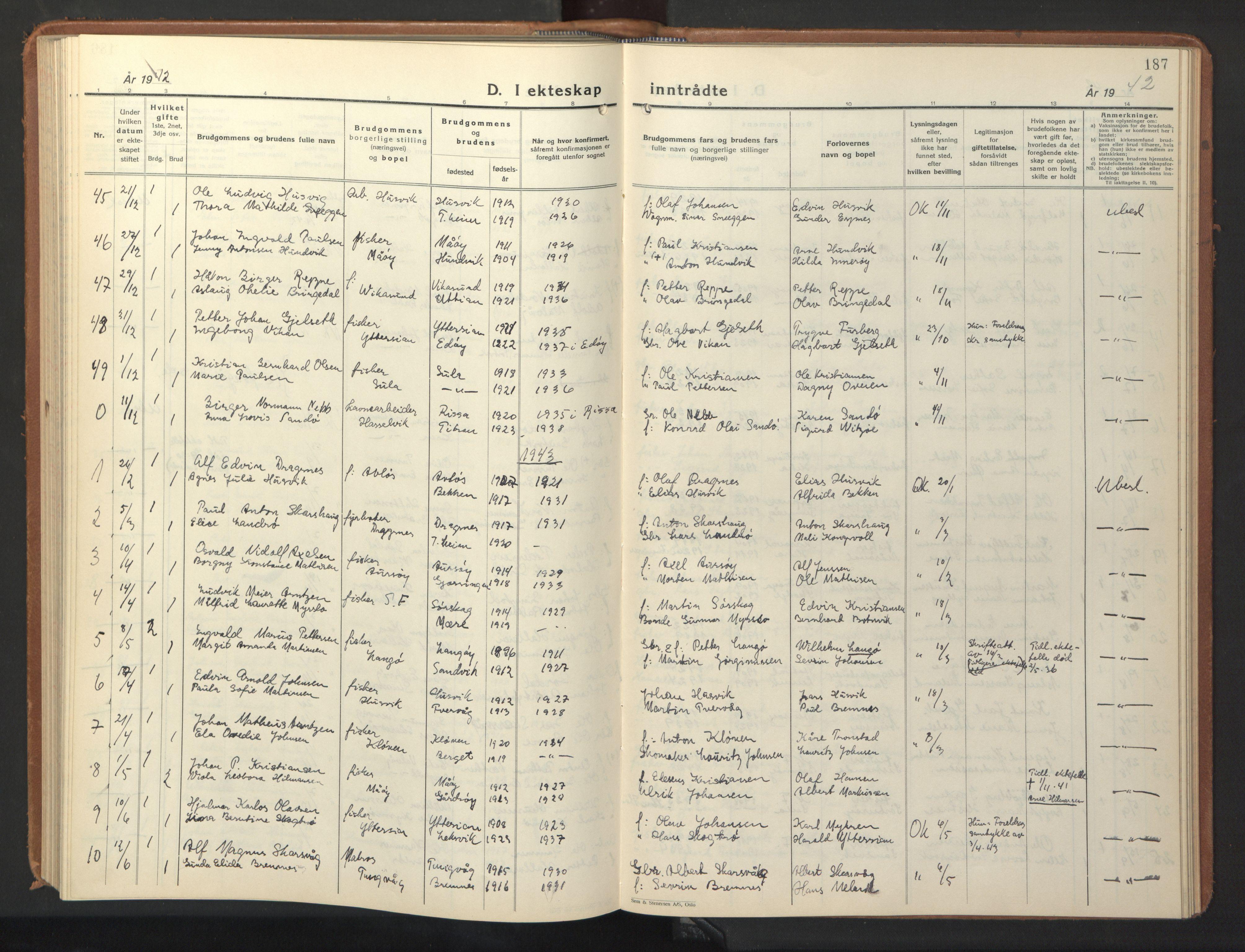 SAT, Ministerialprotokoller, klokkerbøker og fødselsregistre - Sør-Trøndelag, 640/L0590: Klokkerbok nr. 640C07, 1935-1948, s. 187