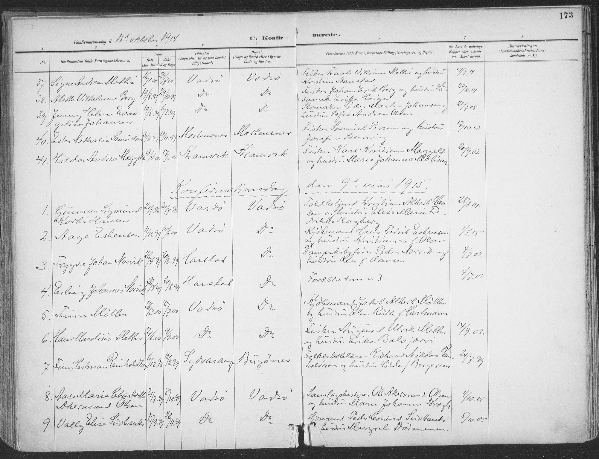 SATØ, Vadsø sokneprestkontor, H/Ha/L0007kirke: Ministerialbok nr. 7, 1896-1916, s. 173