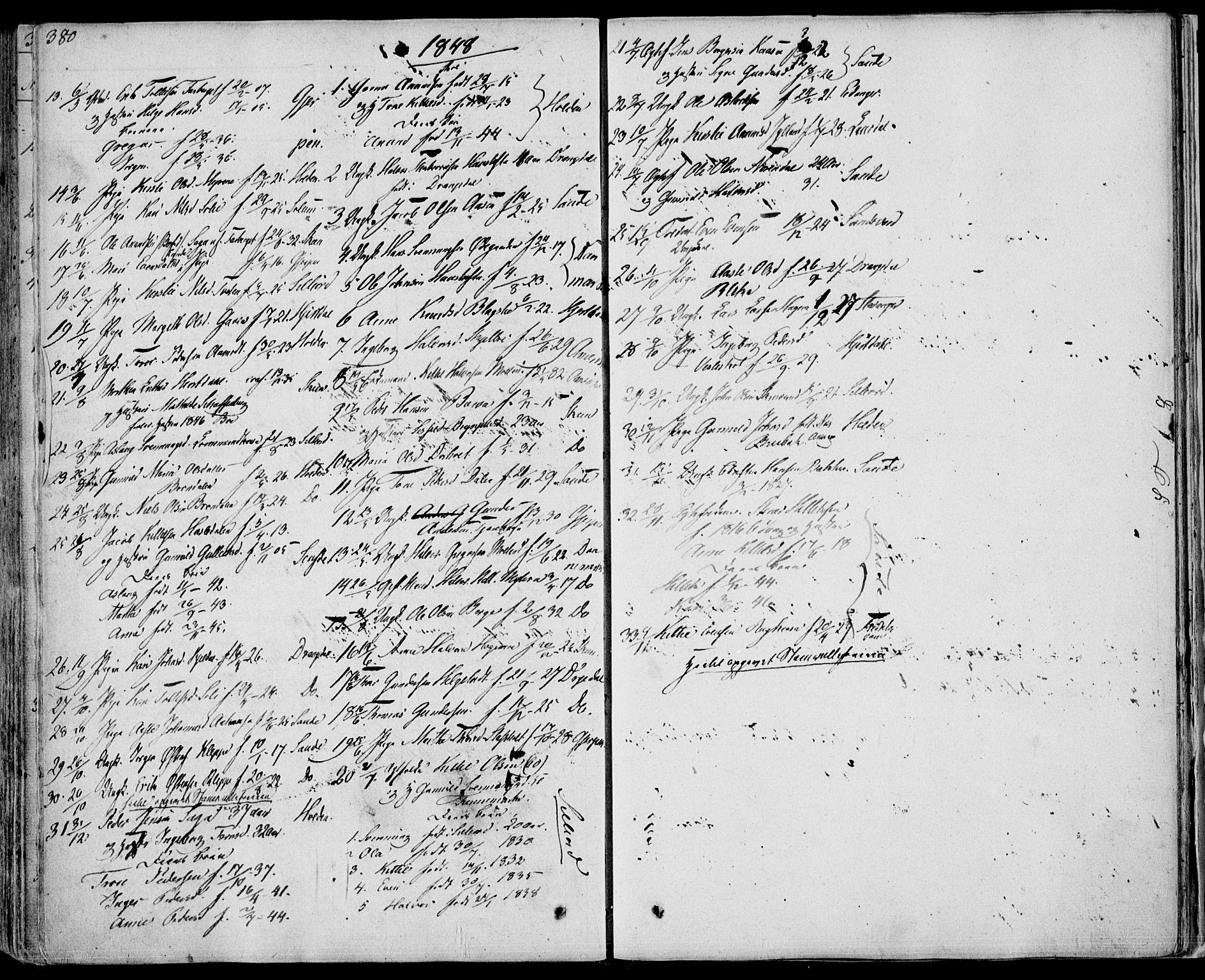 SAKO, Bø kirkebøker, F/Fa/L0007: Ministerialbok nr. 7, 1831-1848, s. 380