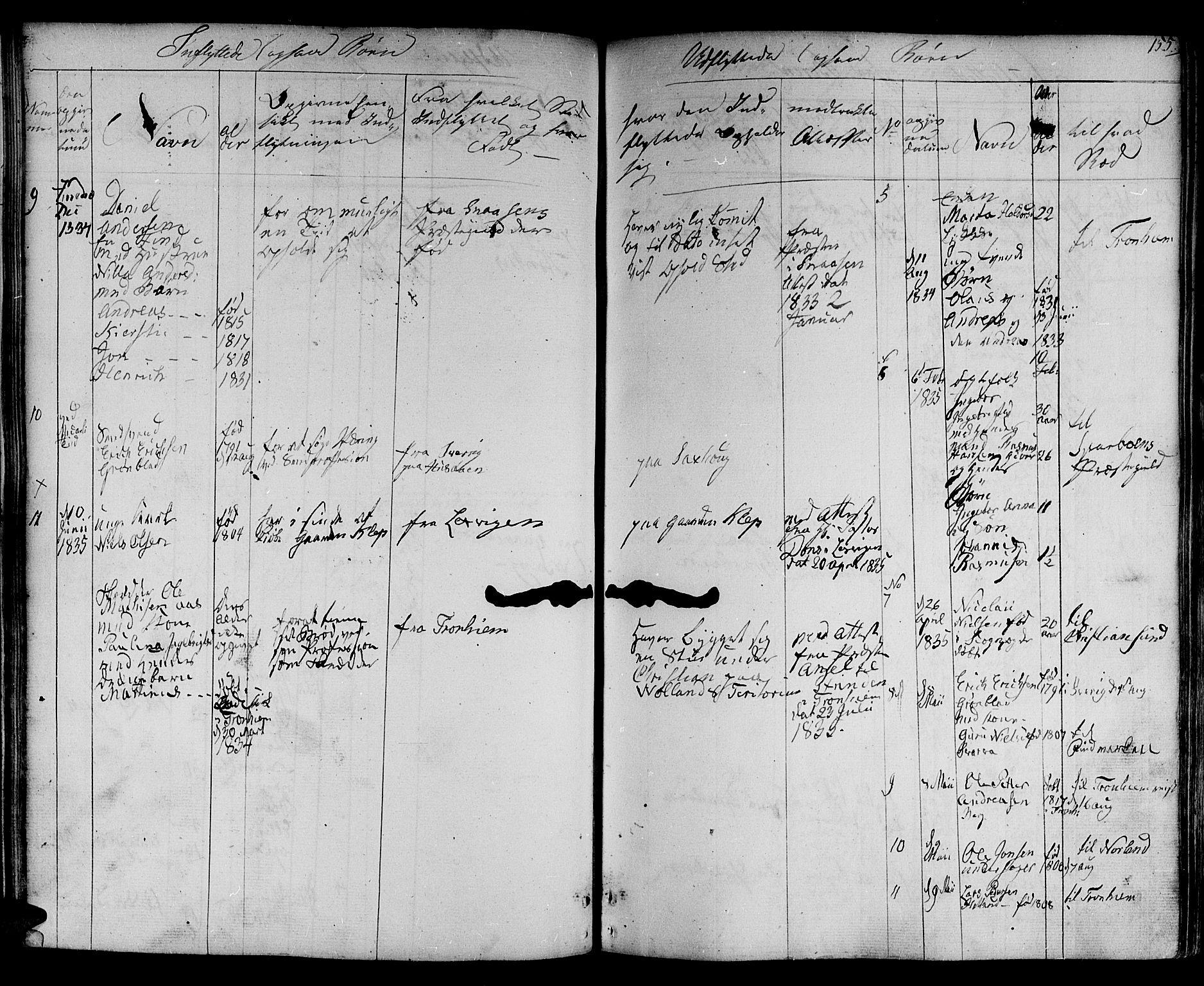 SAT, Ministerialprotokoller, klokkerbøker og fødselsregistre - Nord-Trøndelag, 730/L0277: Ministerialbok nr. 730A06 /1, 1830-1839, s. 155