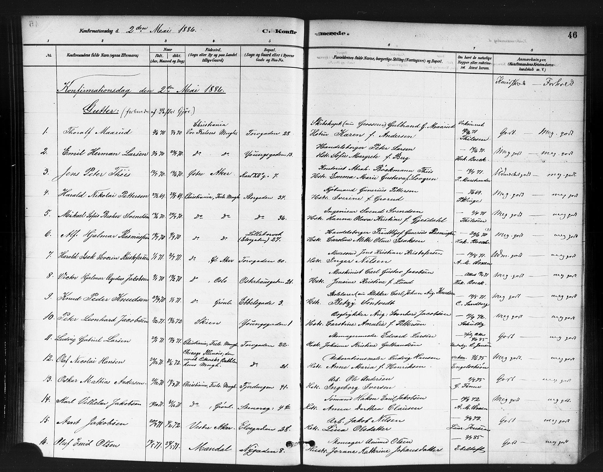 SAO, Jakob prestekontor Kirkebøker, F/Fa/L0004: Ministerialbok nr. 4, 1880-1894, s. 46
