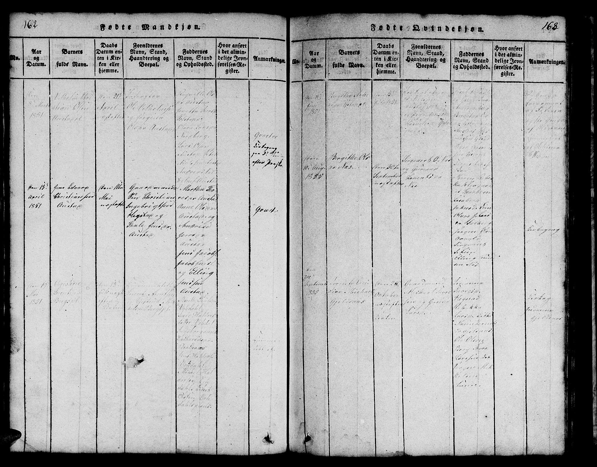SAT, Ministerialprotokoller, klokkerbøker og fødselsregistre - Nord-Trøndelag, 731/L0310: Klokkerbok nr. 731C01, 1816-1874, s. 162-163