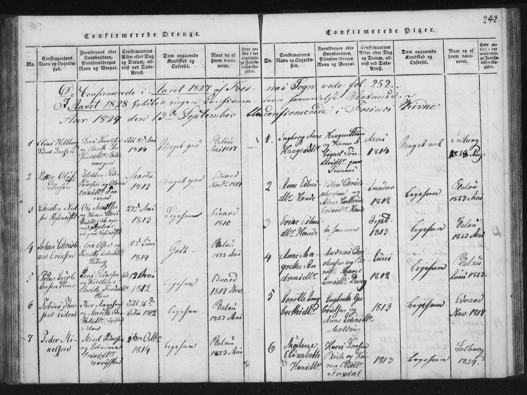 SAT, Ministerialprotokoller, klokkerbøker og fødselsregistre - Nord-Trøndelag, 773/L0609: Ministerialbok nr. 773A03 /1, 1815-1830, s. 242