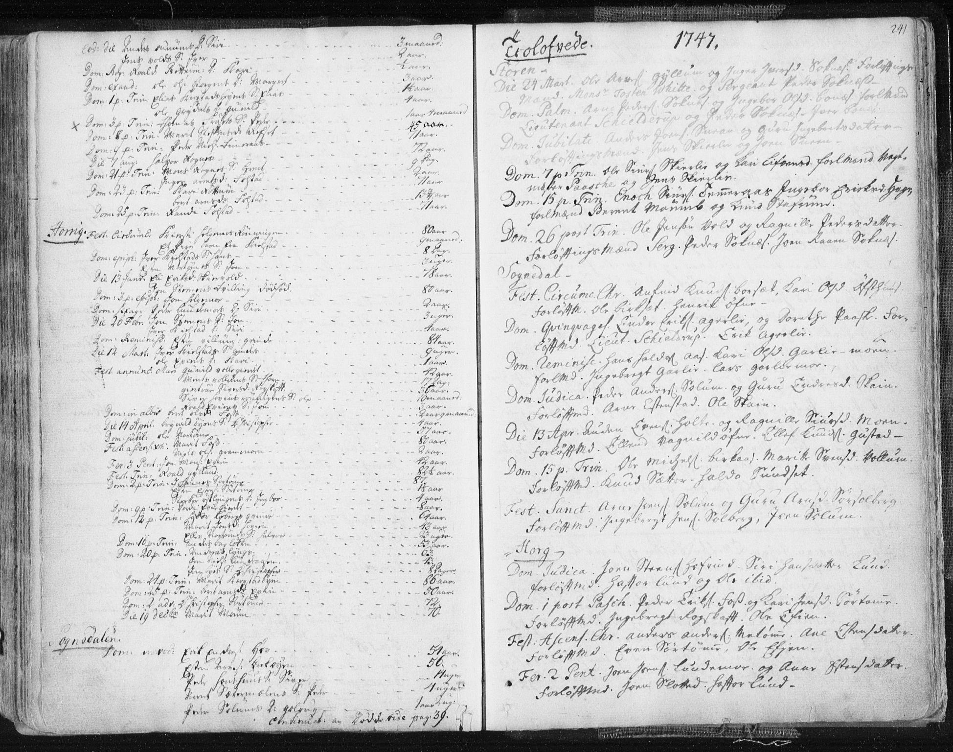 SAT, Ministerialprotokoller, klokkerbøker og fødselsregistre - Sør-Trøndelag, 687/L0991: Ministerialbok nr. 687A02, 1747-1790, s. 241