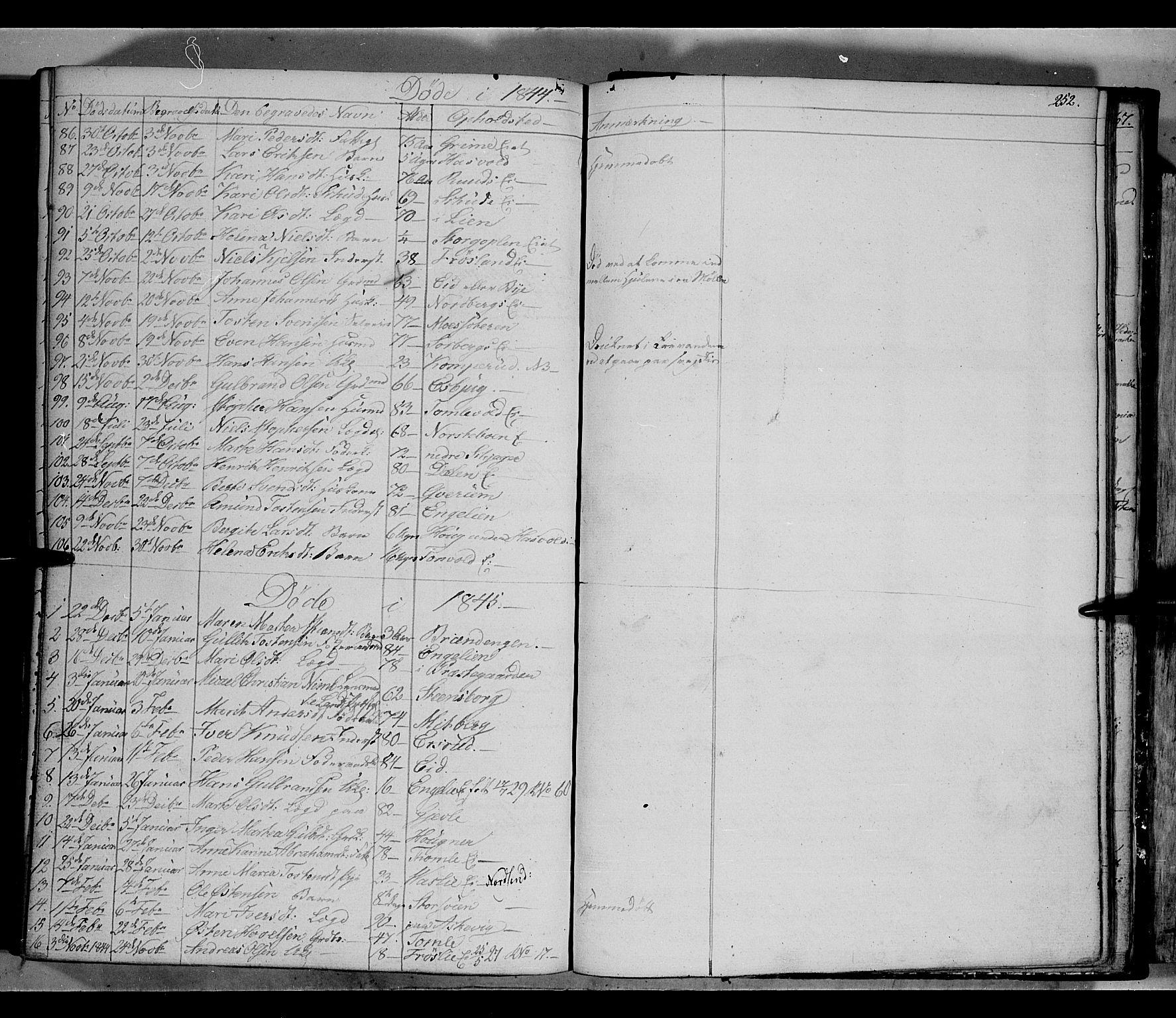 SAH, Land prestekontor, Klokkerbok nr. 2, 1833-1849, s. 252