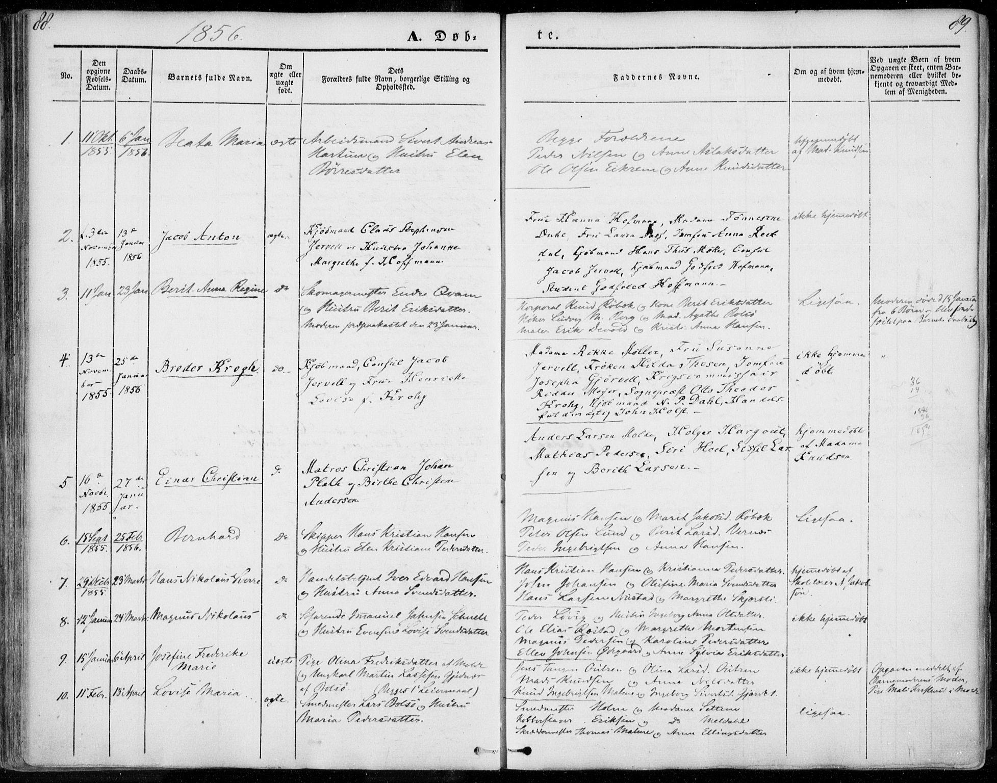 SAT, Ministerialprotokoller, klokkerbøker og fødselsregistre - Møre og Romsdal, 558/L0689: Ministerialbok nr. 558A03, 1843-1872, s. 88-89