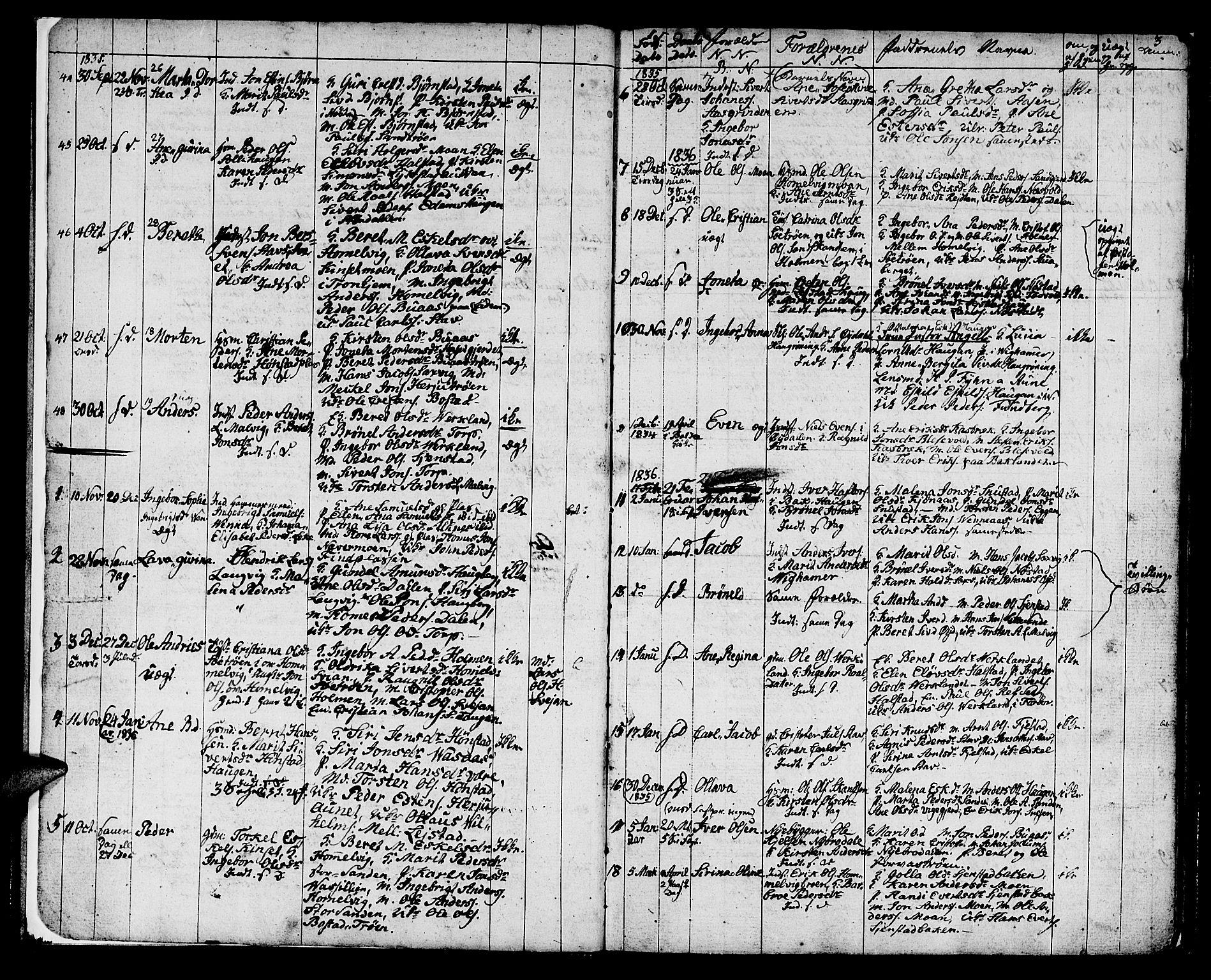 SAT, Ministerialprotokoller, klokkerbøker og fødselsregistre - Sør-Trøndelag, 616/L0421: Klokkerbok nr. 616C04, 1834-1850, s. 3