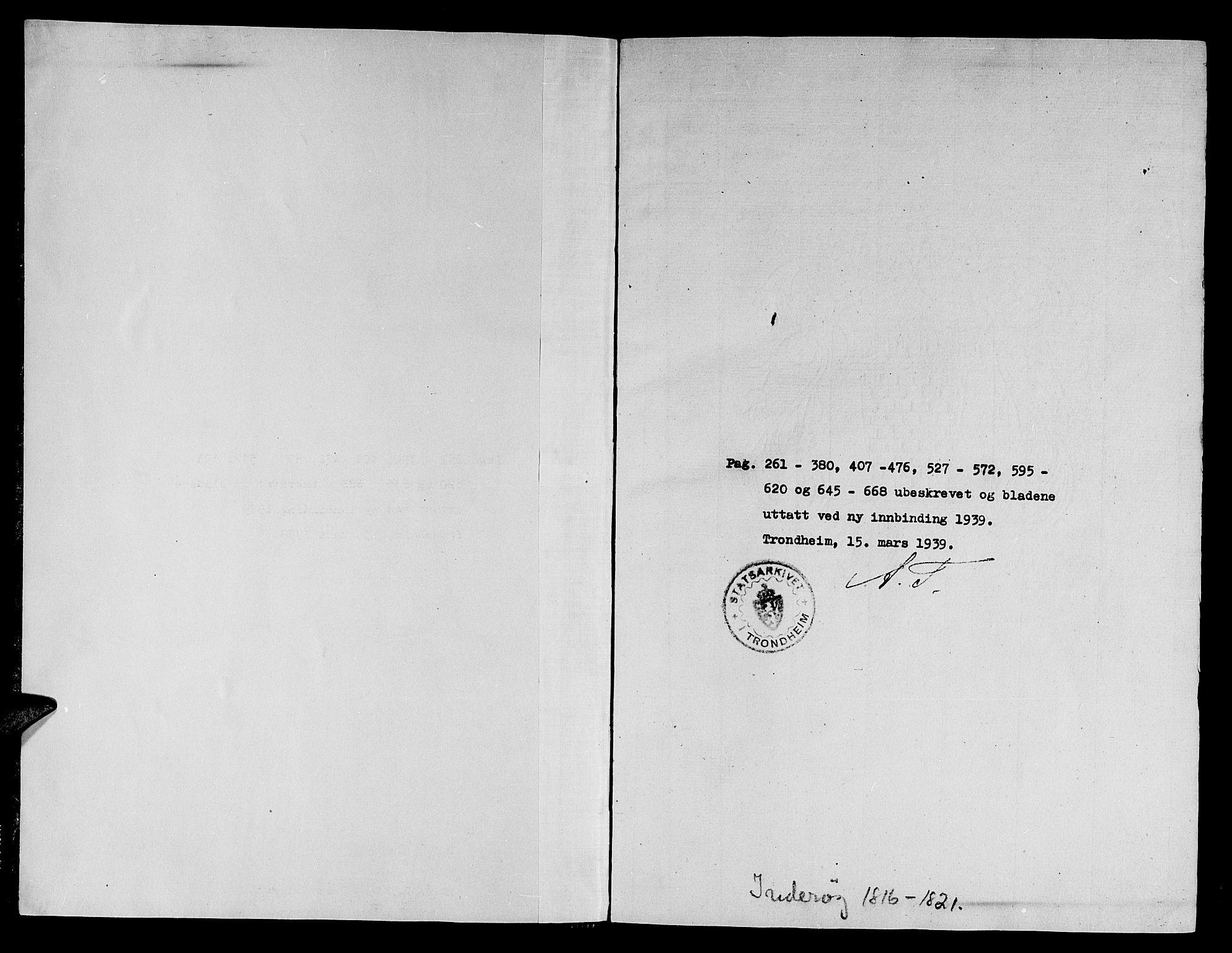 SAT, Ministerialprotokoller, klokkerbøker og fødselsregistre - Nord-Trøndelag, 730/L0275: Ministerialbok nr. 730A04, 1816-1822