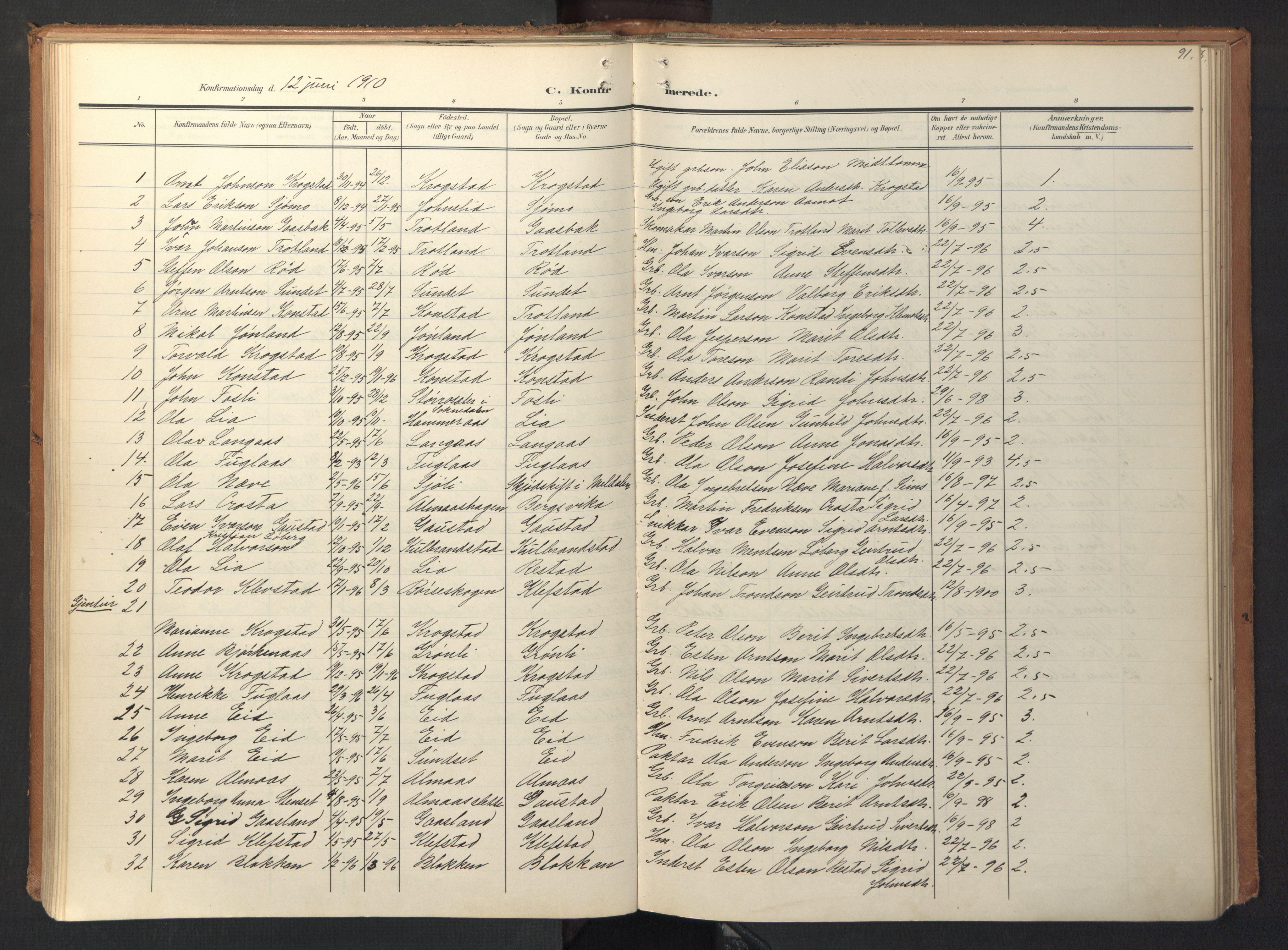 SAT, Ministerialprotokoller, klokkerbøker og fødselsregistre - Sør-Trøndelag, 694/L1128: Ministerialbok nr. 694A02, 1906-1931, s. 91