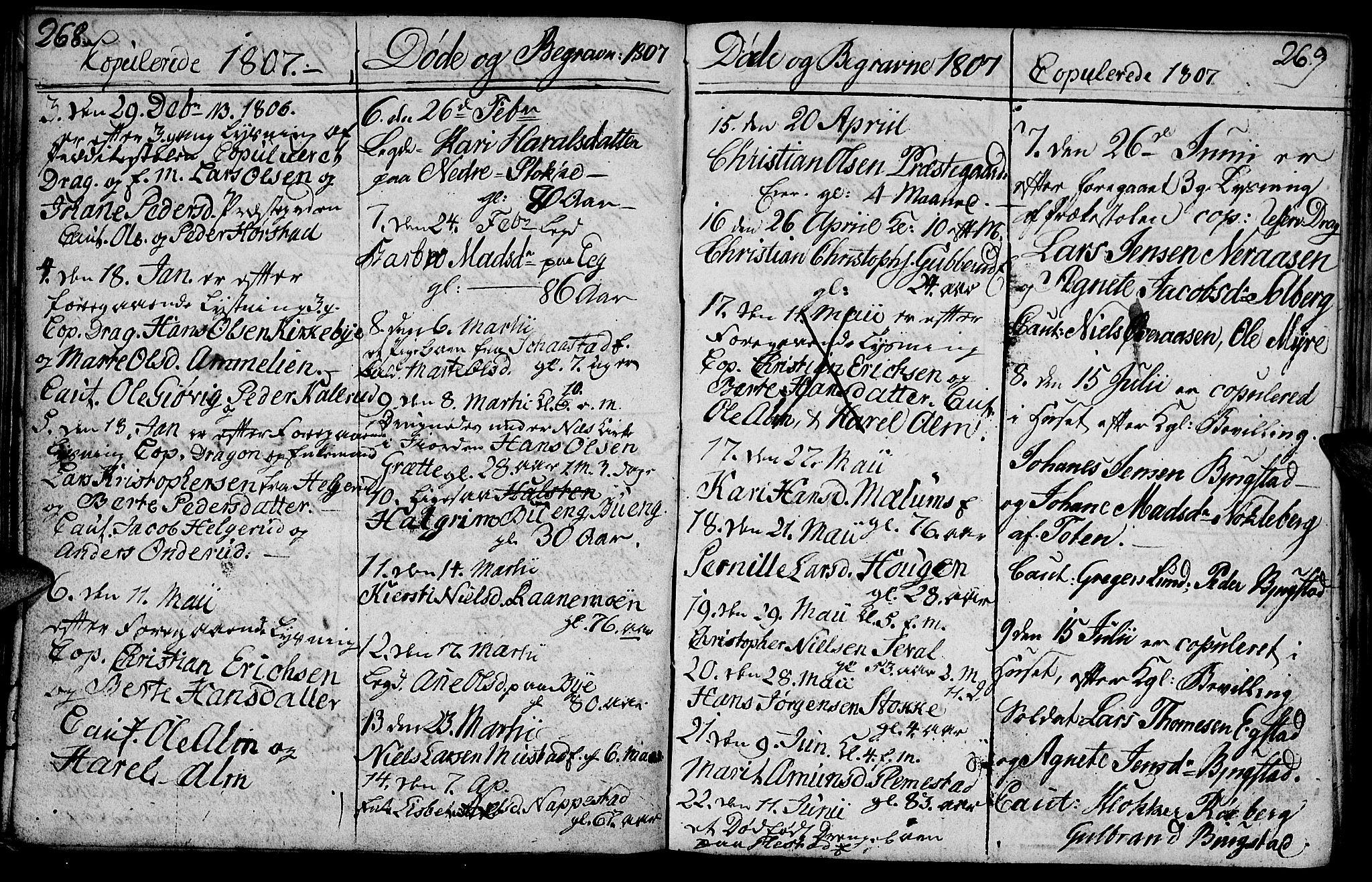 SAH, Vardal prestekontor, H/Ha/Hab/L0003: Klokkerbok nr. 3, 1803-1808, s. 268-269
