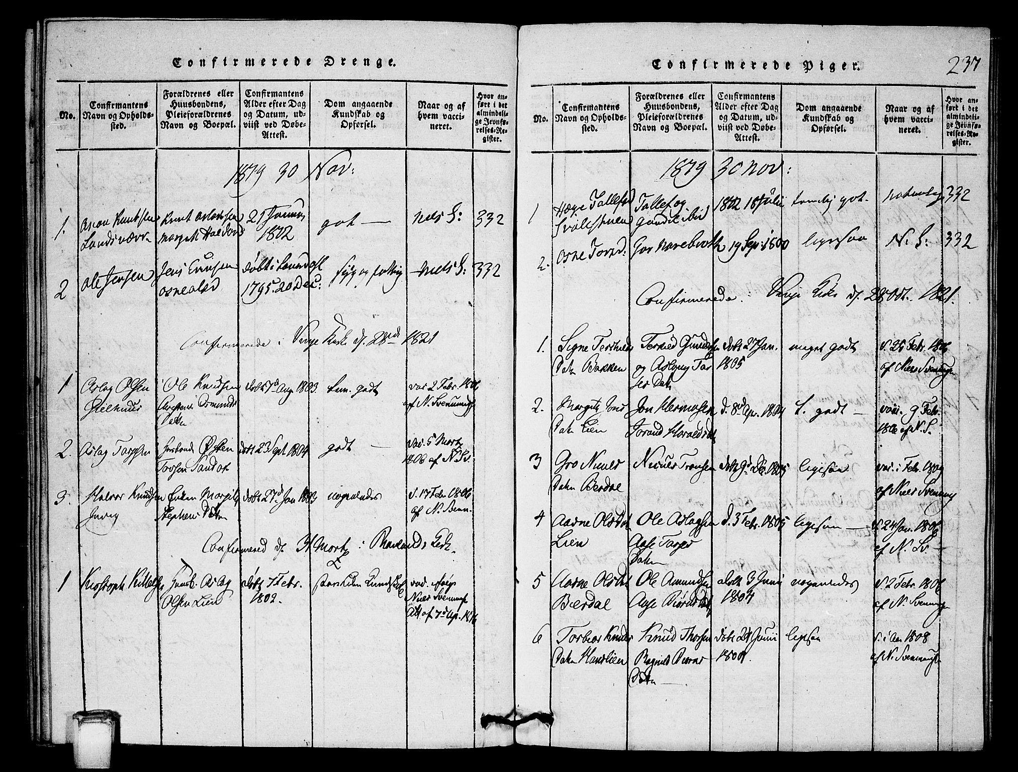 SAKO, Vinje kirkebøker, G/Gb/L0001: Klokkerbok nr. II 1, 1814-1843, s. 237