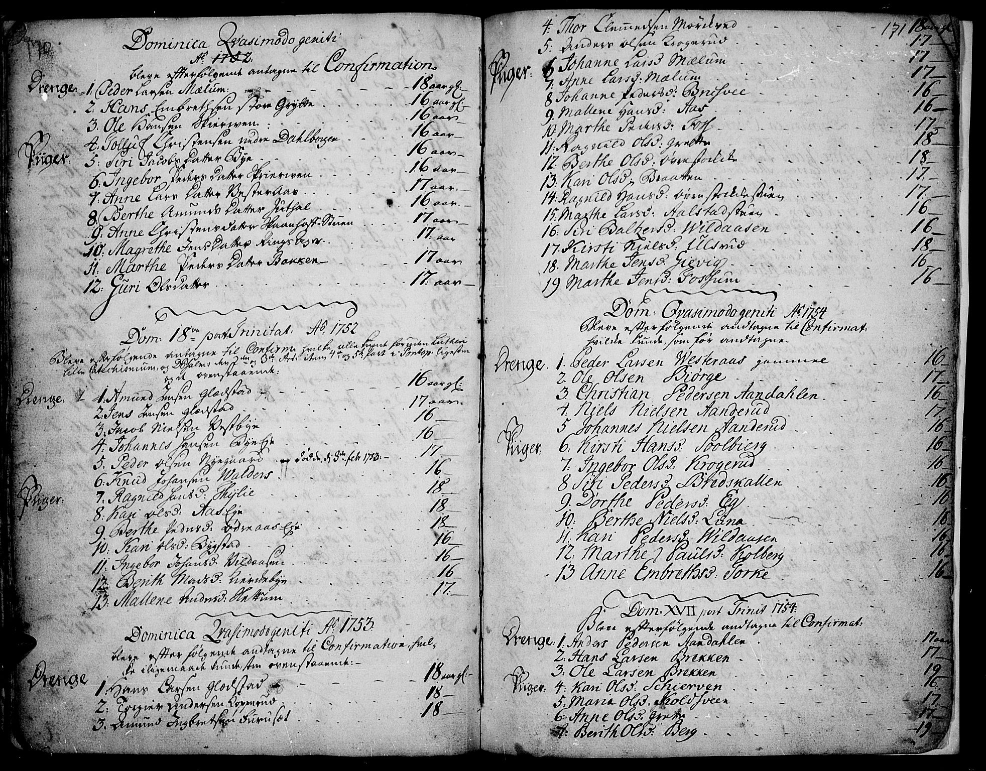 SAH, Vardal prestekontor, H/Ha/Haa/L0002: Ministerialbok nr. 2, 1748-1776, s. 170-171
