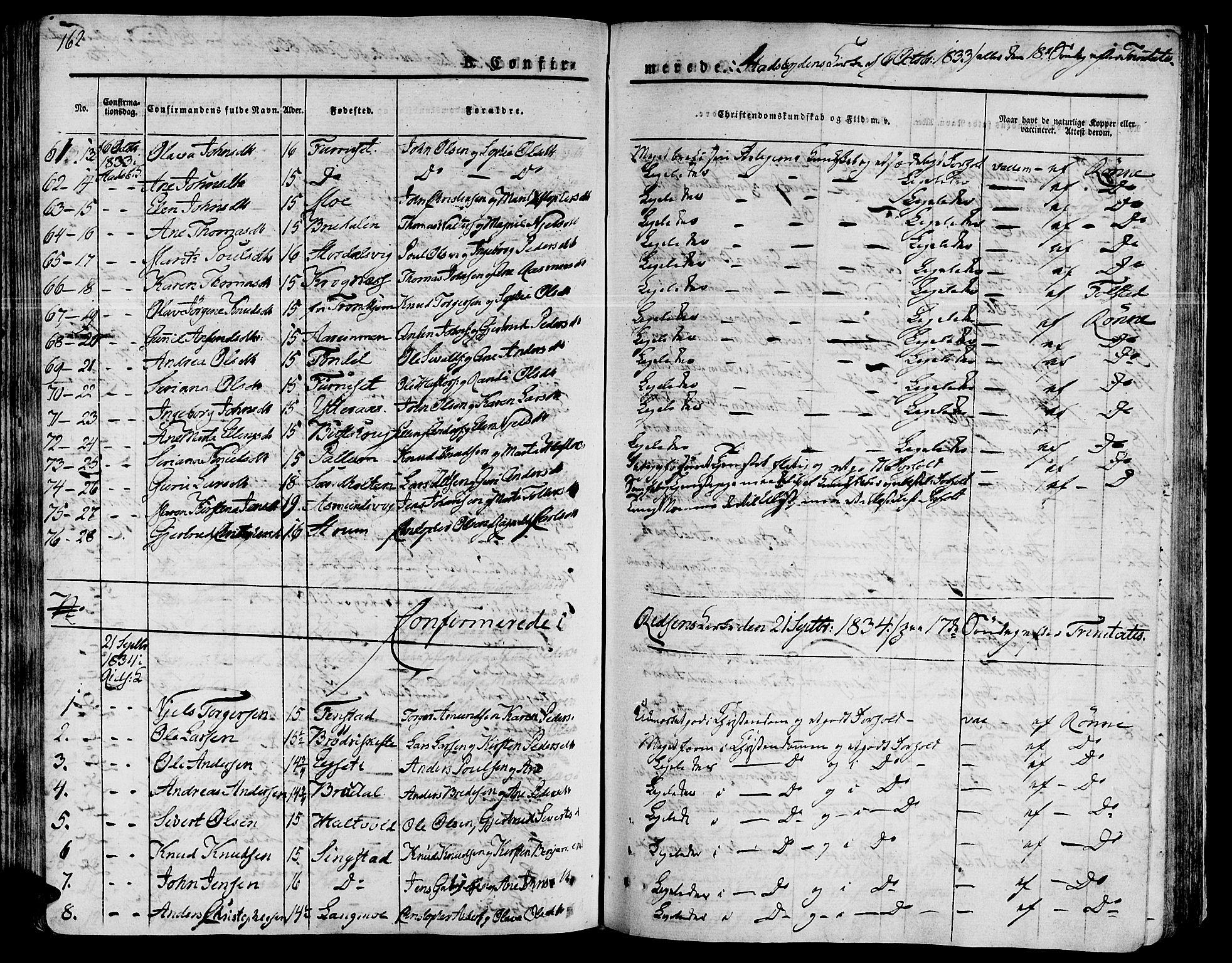 SAT, Ministerialprotokoller, klokkerbøker og fødselsregistre - Sør-Trøndelag, 646/L0609: Ministerialbok nr. 646A07, 1826-1838, s. 162