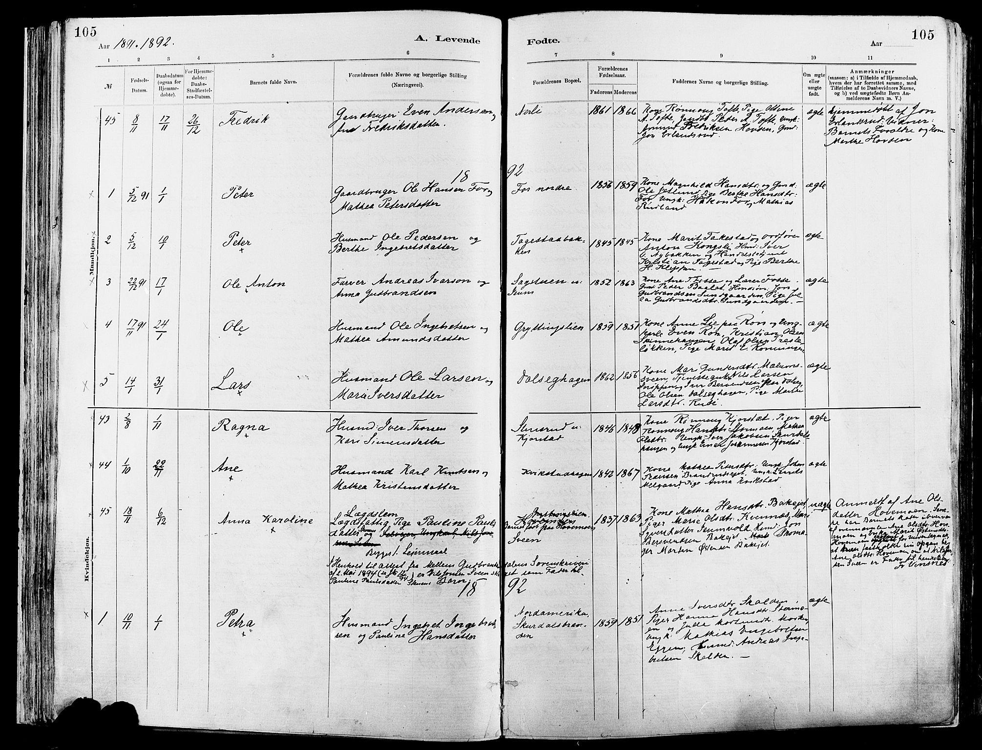 SAH, Sør-Fron prestekontor, H/Ha/Haa/L0003: Ministerialbok nr. 3, 1881-1897, s. 105