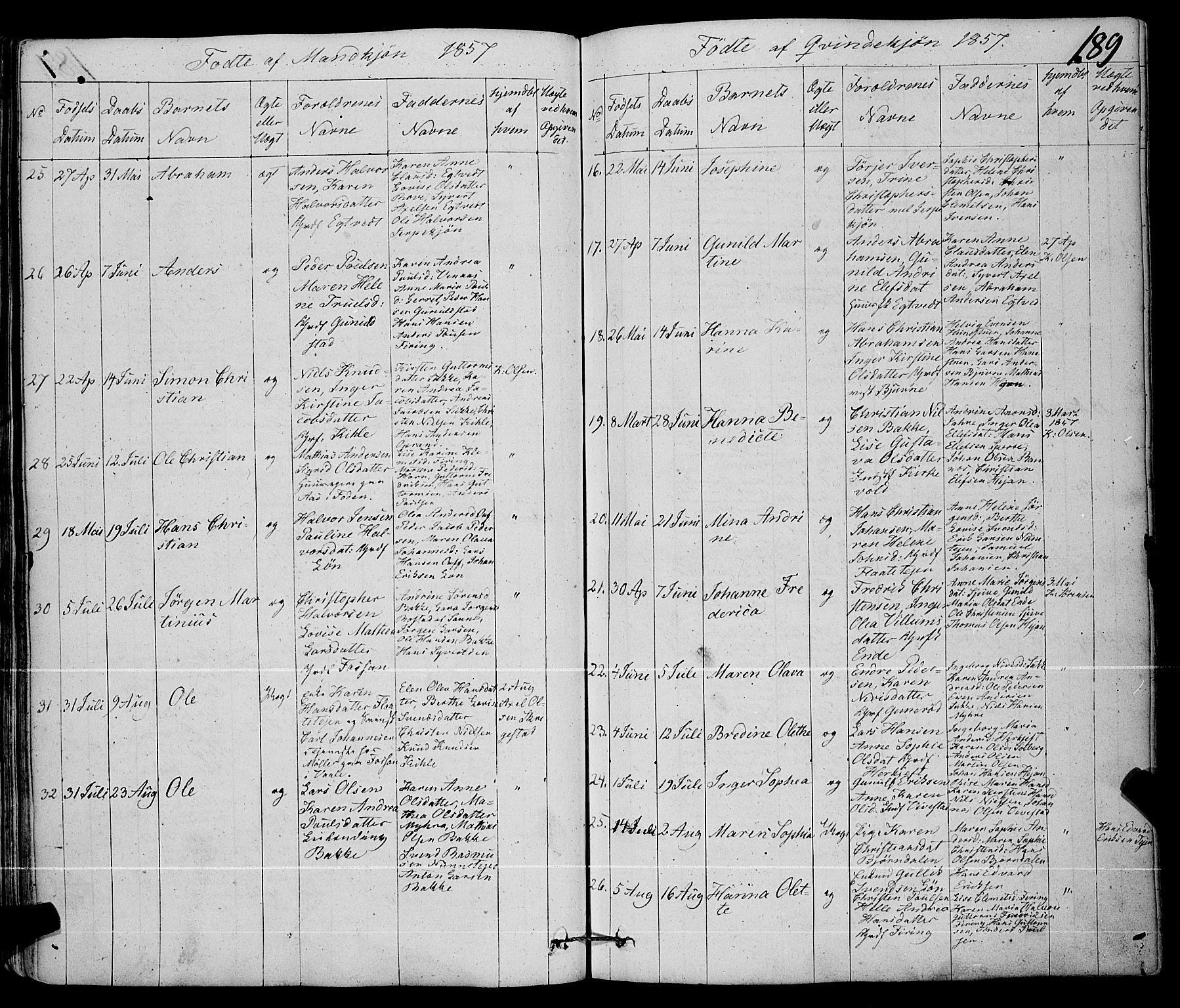 SAKO, Ramnes kirkebøker, F/Fa/L0005: Ministerialbok nr. I 5, 1841-1861, s. 188-189