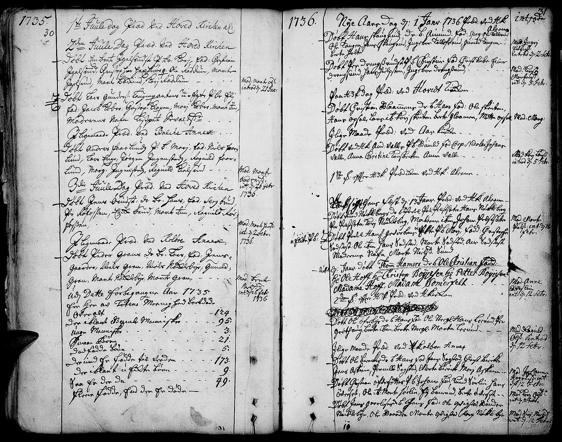 SAH, Toten prestekontor, Ministerialbok nr. 3, 1734-1751, s. 30-31