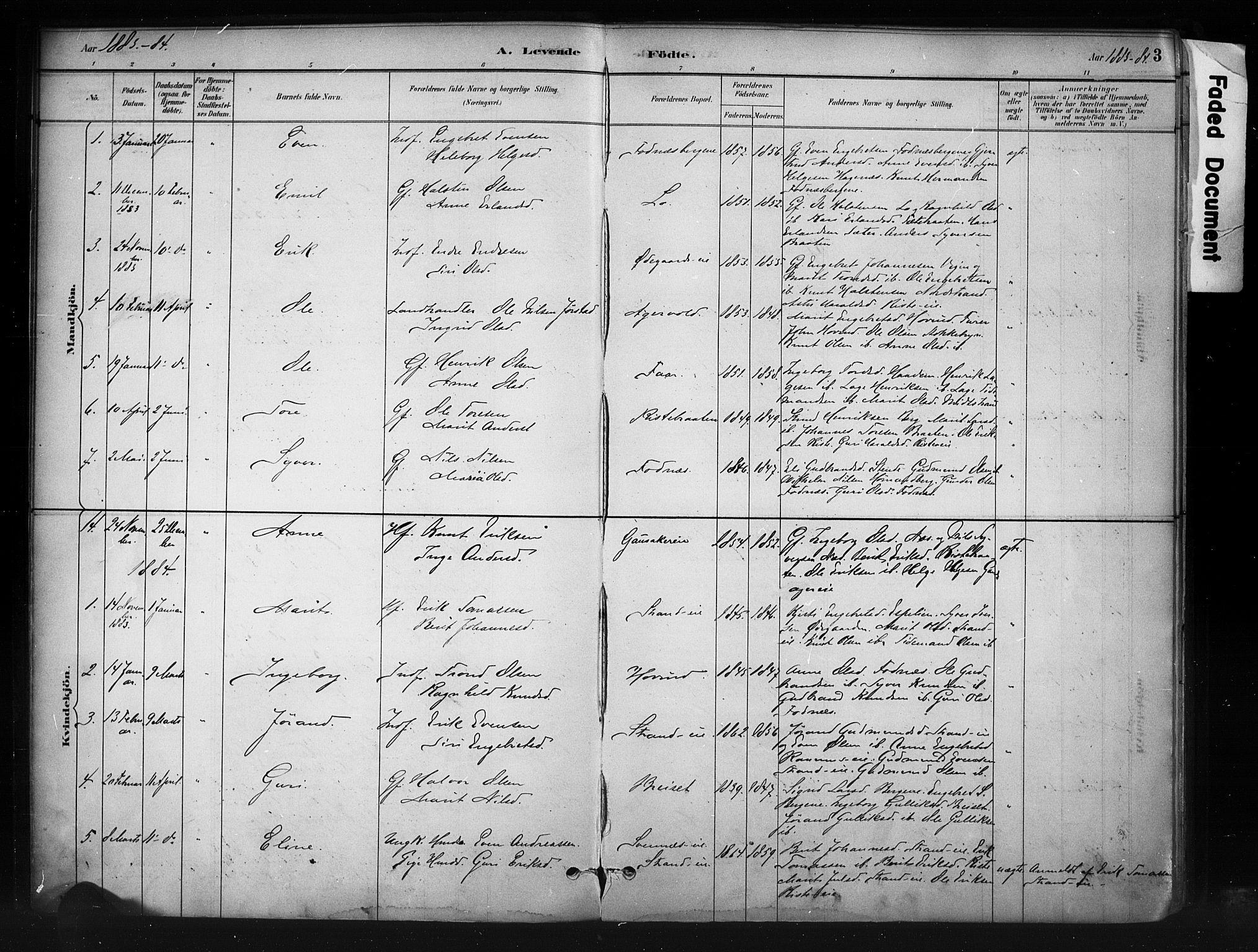 SAH, Nord-Aurdal prestekontor, Ministerialbok nr. 10, 1883-1896, s. 3