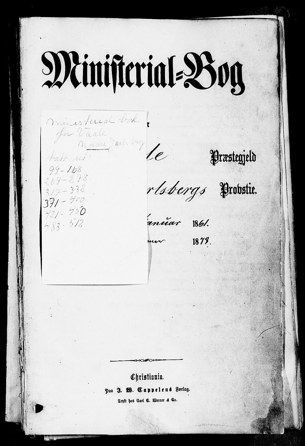 SAKO, Våle kirkebøker, F/Fa/L0010: Ministerialbok nr. I 10, 1861-1877