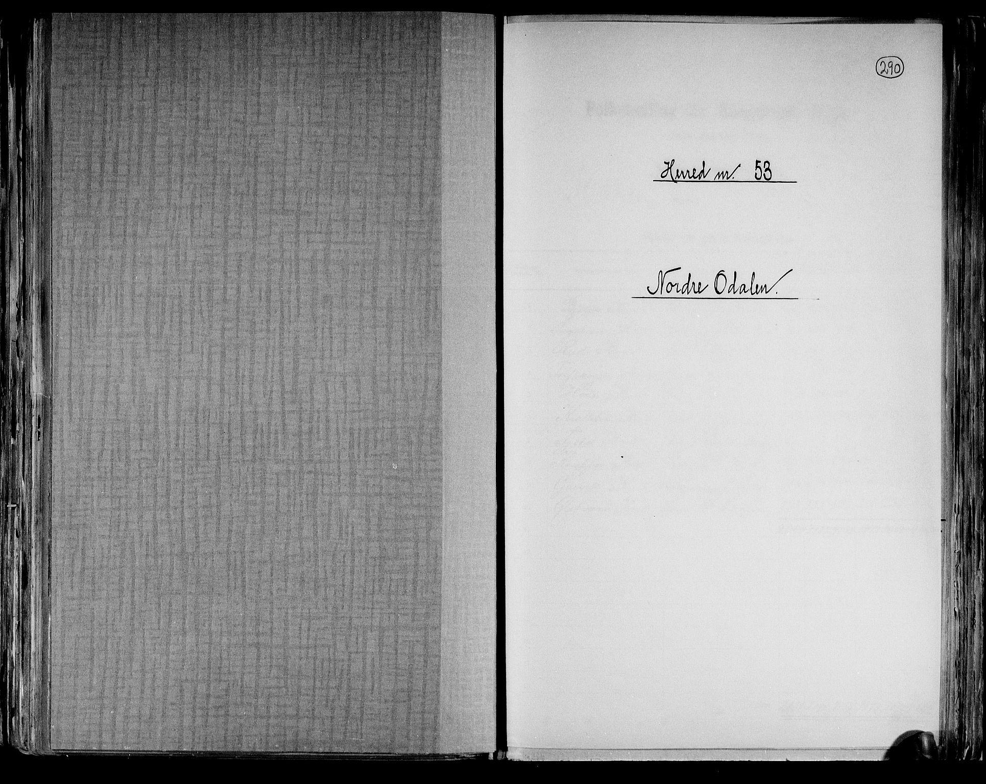 RA, Folketelling 1891 for 0418 Nord-Odal herred, 1891, s. 1