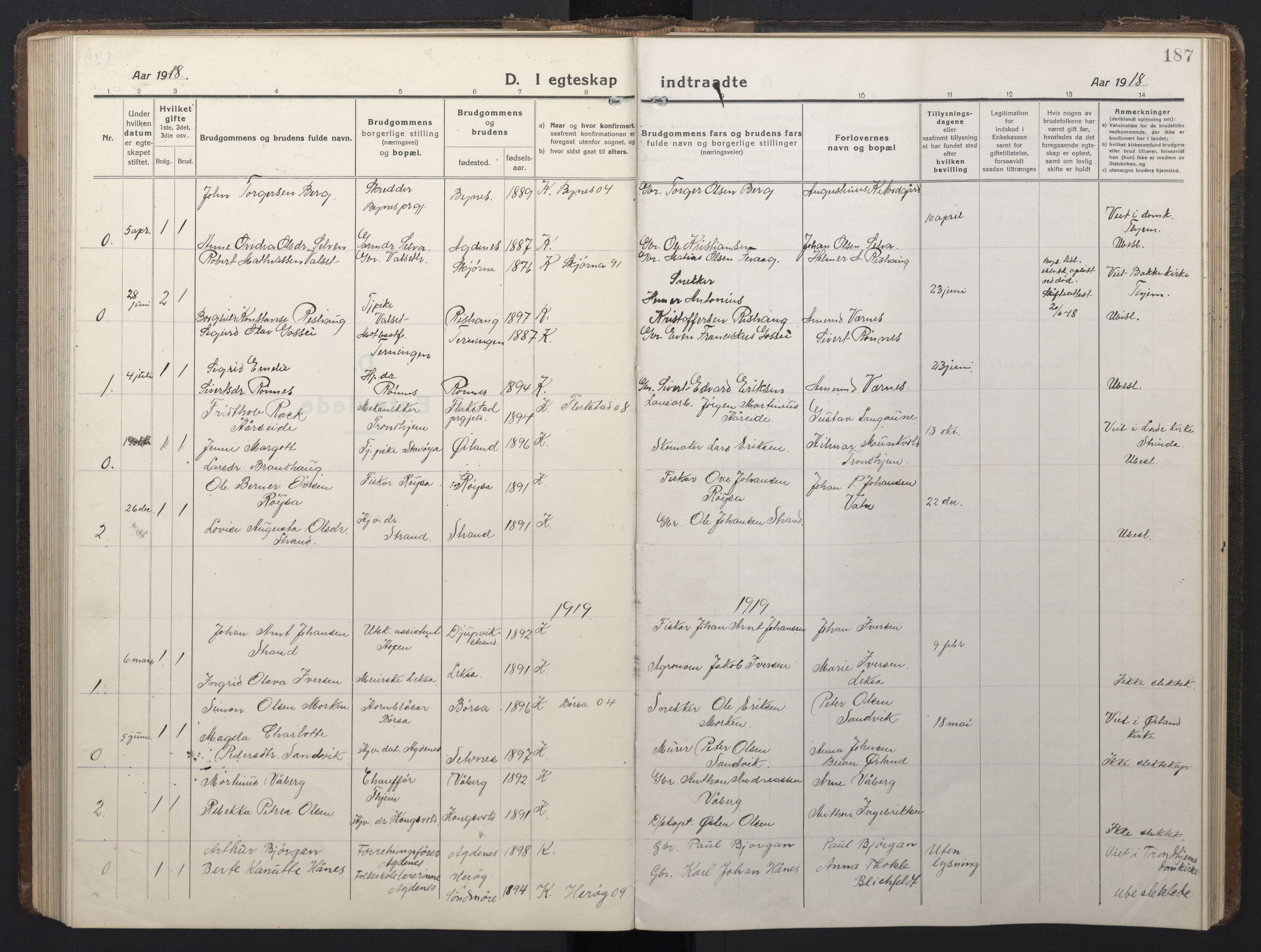 SAT, Ministerialprotokoller, klokkerbøker og fødselsregistre - Sør-Trøndelag, 662/L0758: Klokkerbok nr. 662C03, 1918-1948, s. 187