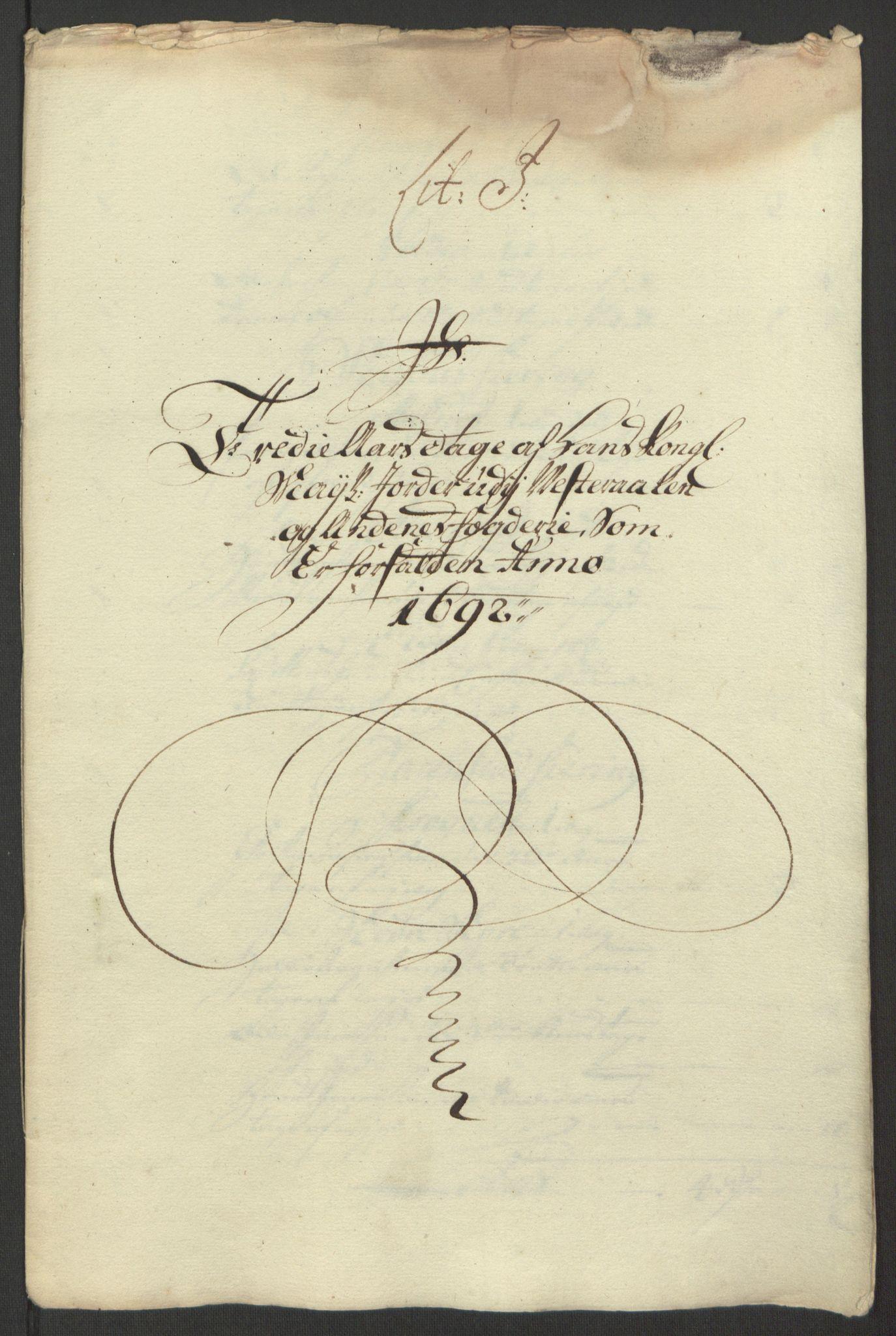 RA, Rentekammeret inntil 1814, Reviderte regnskaper, Fogderegnskap, R67/L4676: Fogderegnskap Vesterålen, Andenes og Lofoten, 1691-1693, s. 171