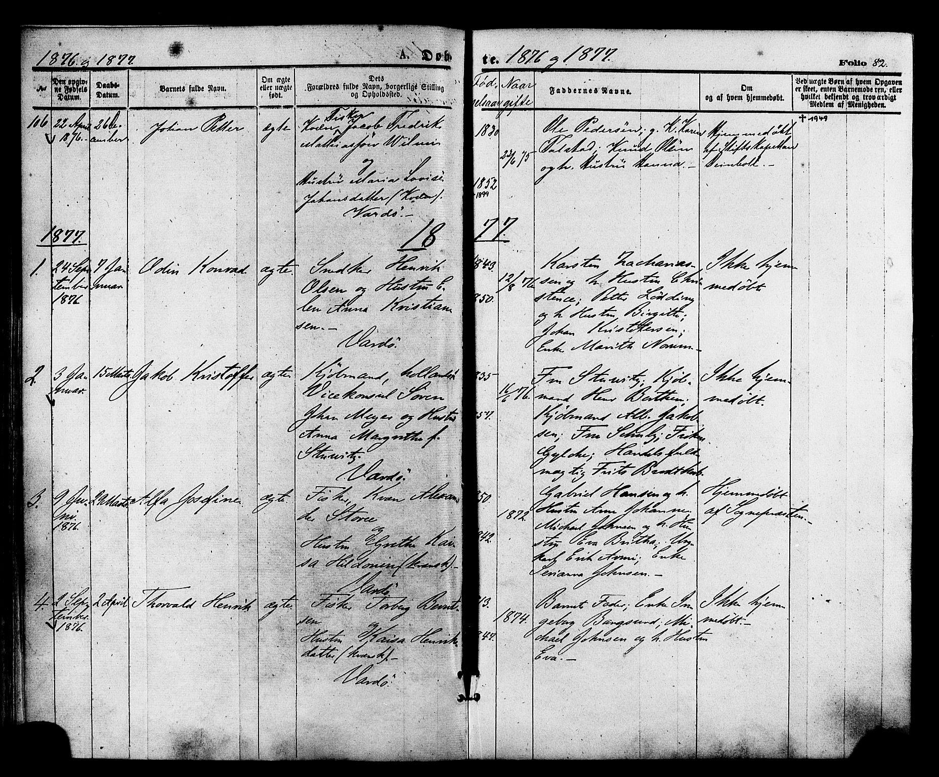 SATØ, Vardø sokneprestkontor, H/Ha/L0005kirke: Ministerialbok nr. 5, 1872-1878, s. 82