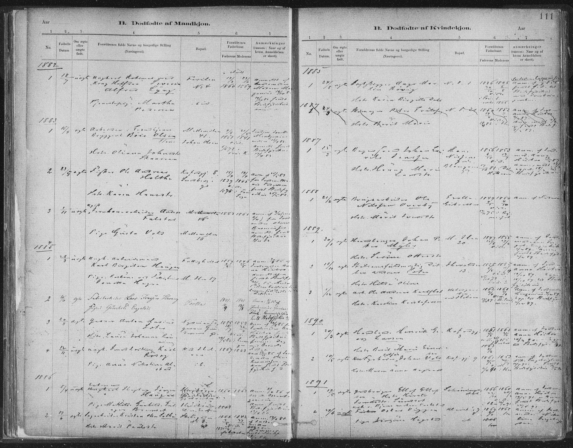 SAT, Ministerialprotokoller, klokkerbøker og fødselsregistre - Sør-Trøndelag, 603/L0162: Ministerialbok nr. 603A01, 1879-1895, s. 111