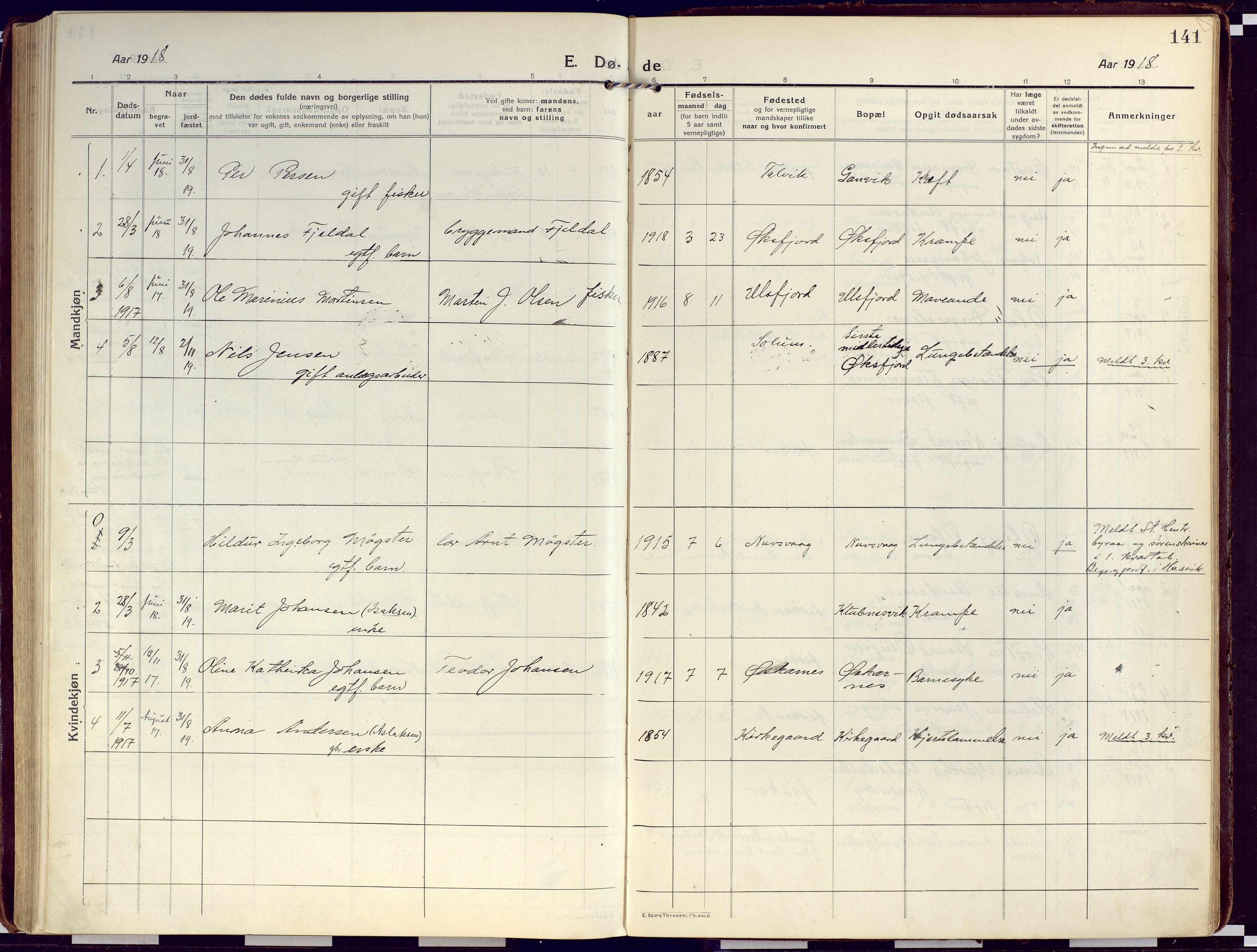SATØ, Loppa sokneprestkontor, H/Ha/L0012kirke: Ministerialbok nr. 12, 1917-1932, s. 141