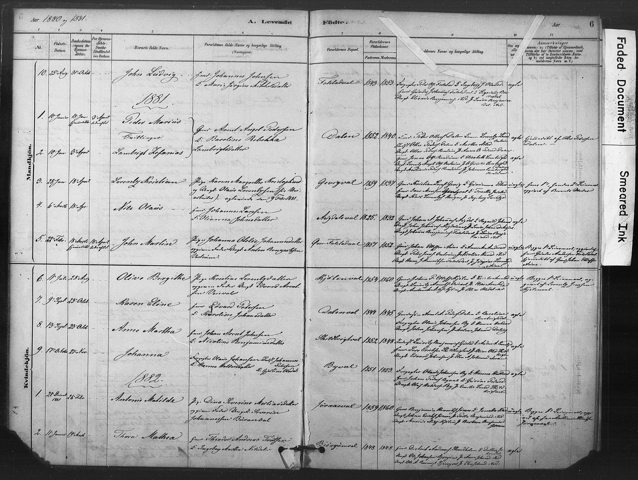 SAT, Ministerialprotokoller, klokkerbøker og fødselsregistre - Nord-Trøndelag, 719/L0178: Ministerialbok nr. 719A01, 1878-1900, s. 6